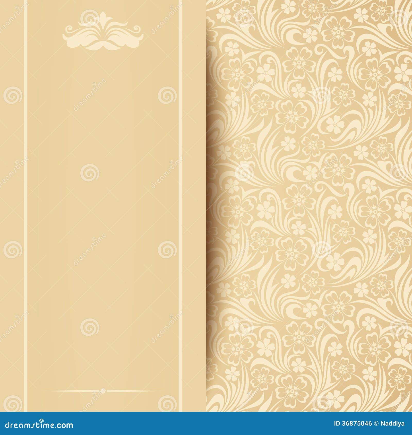 Download Carta Beige Di Vettore Con Il Modello Floreale. Illustrazione Vettoriale - Illustrazione di foglio, background: 36875046