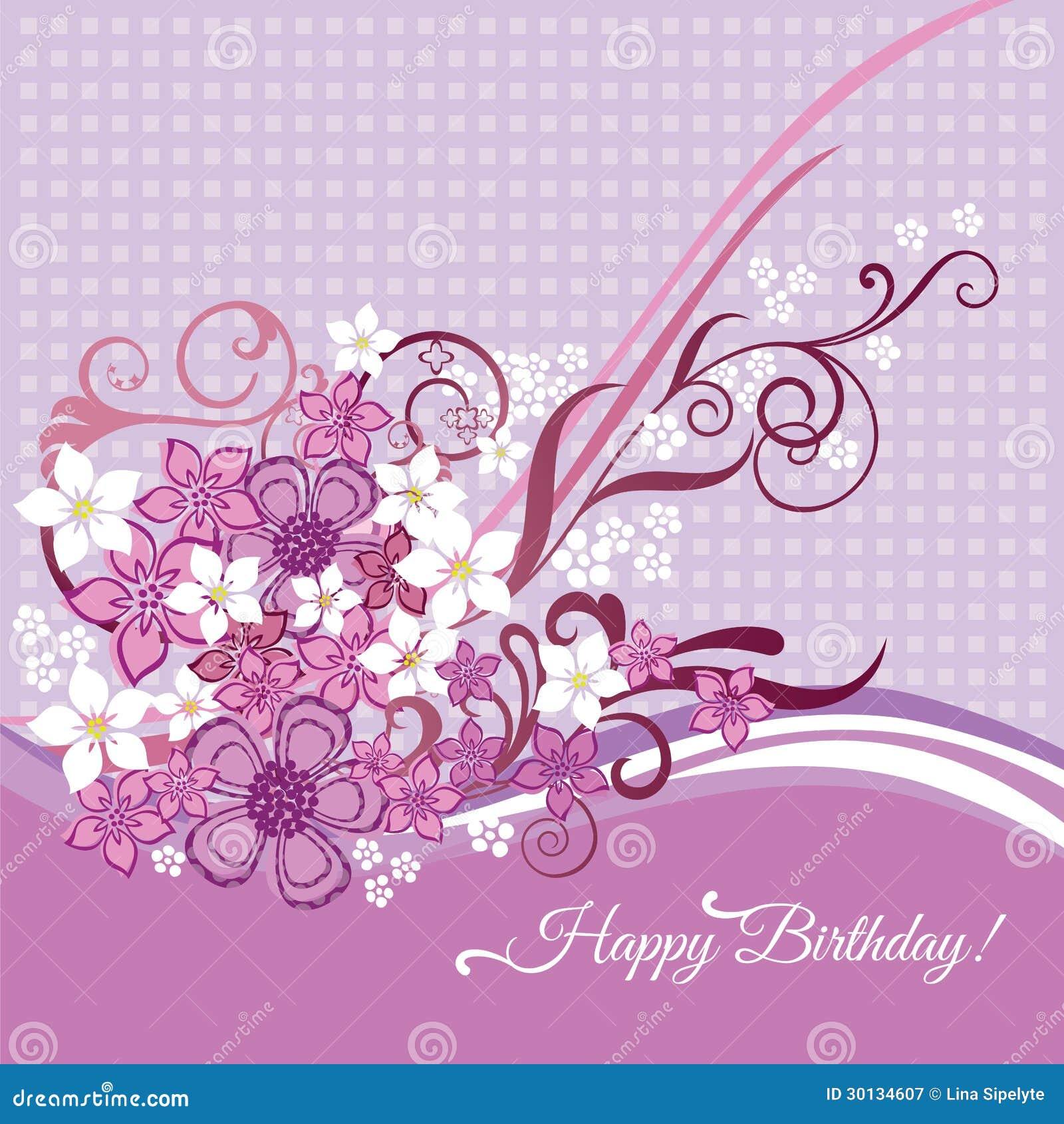Amato Biglietto Di Auguri Per Il Compleanno Felice Con I Fiori Rosa E  EZ15