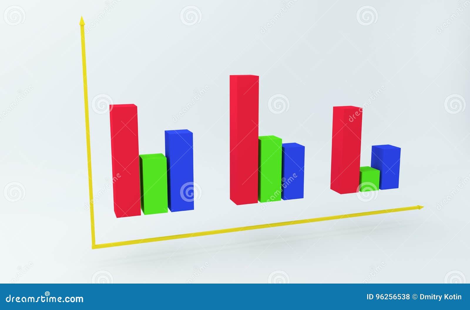 Carta Colorida Financiera 3D Representación 3d Stock de ilustración ...