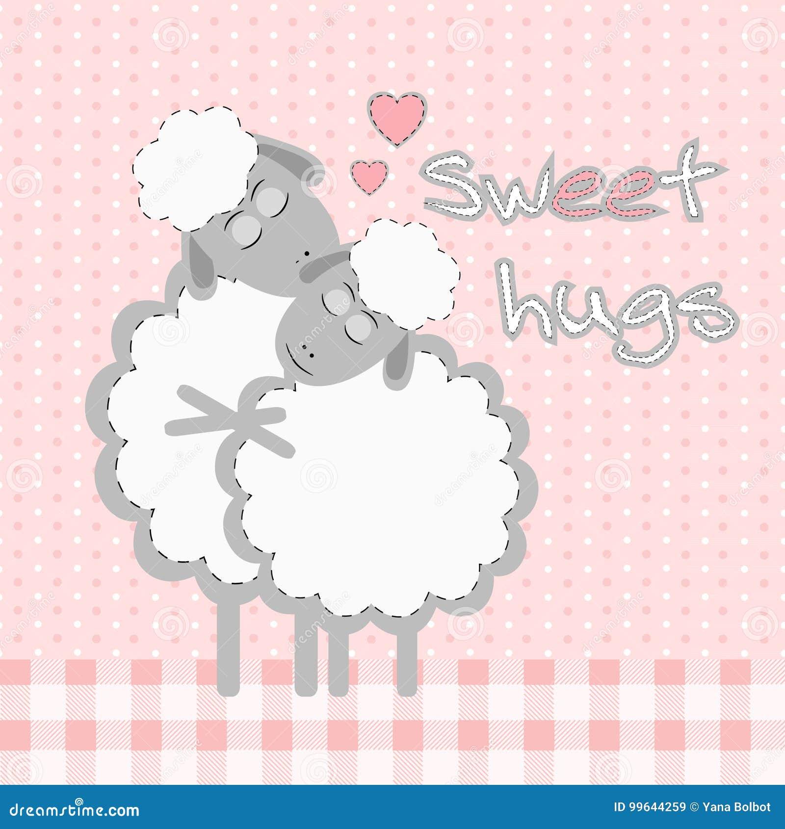 Carta Con Le Pecore Sveglie Del Fumetto E Gli Abbracci Dolci