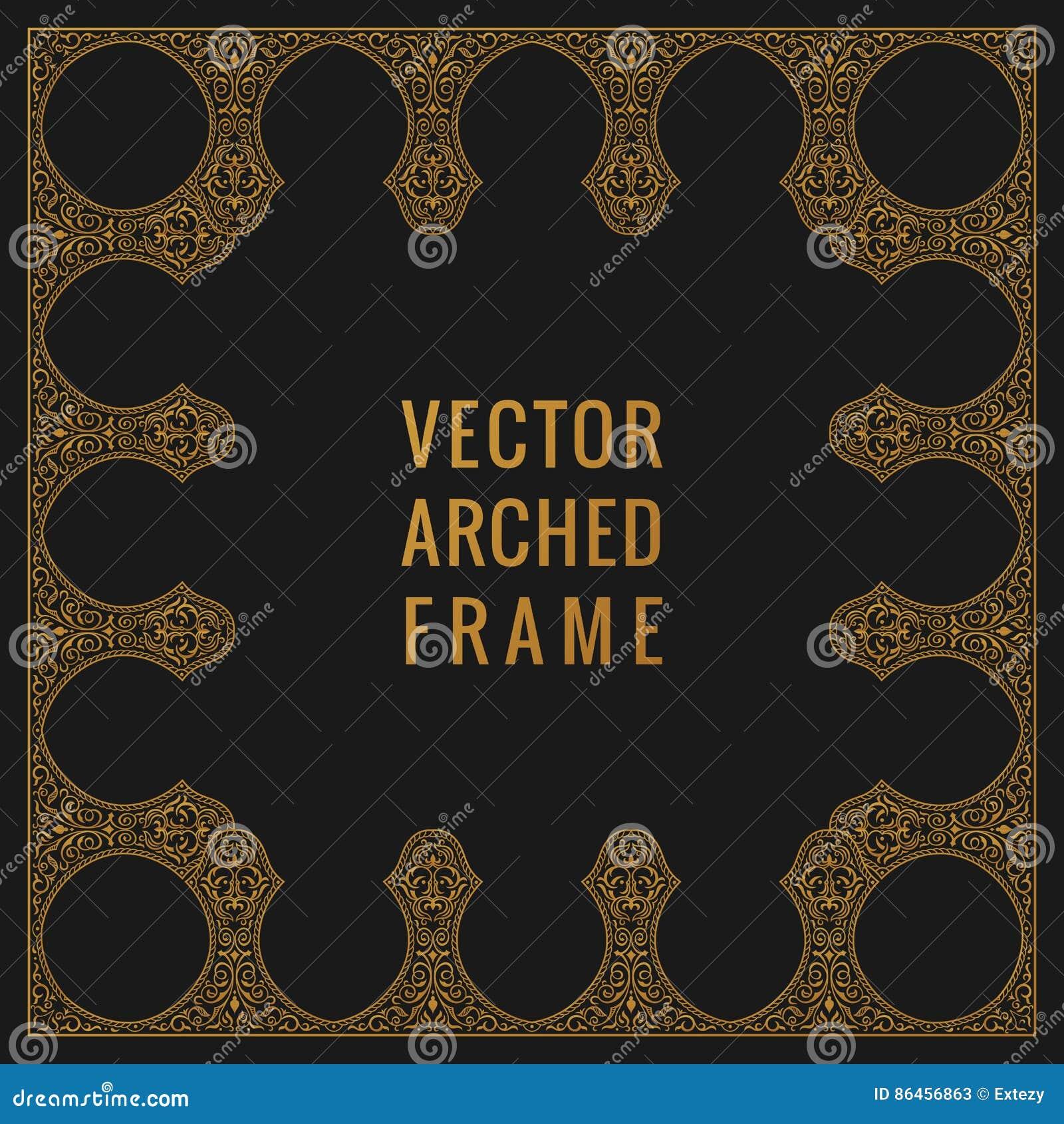 Carta d annata orientale dell arco Struttura floreale dell ornamento arabo Elementi di progettazione del modello nello stile orie