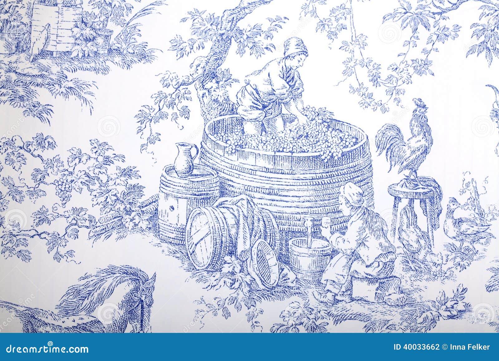 Carta da parati barrocco francese blu e bianca del modello for Carta da parati damascata bianca
