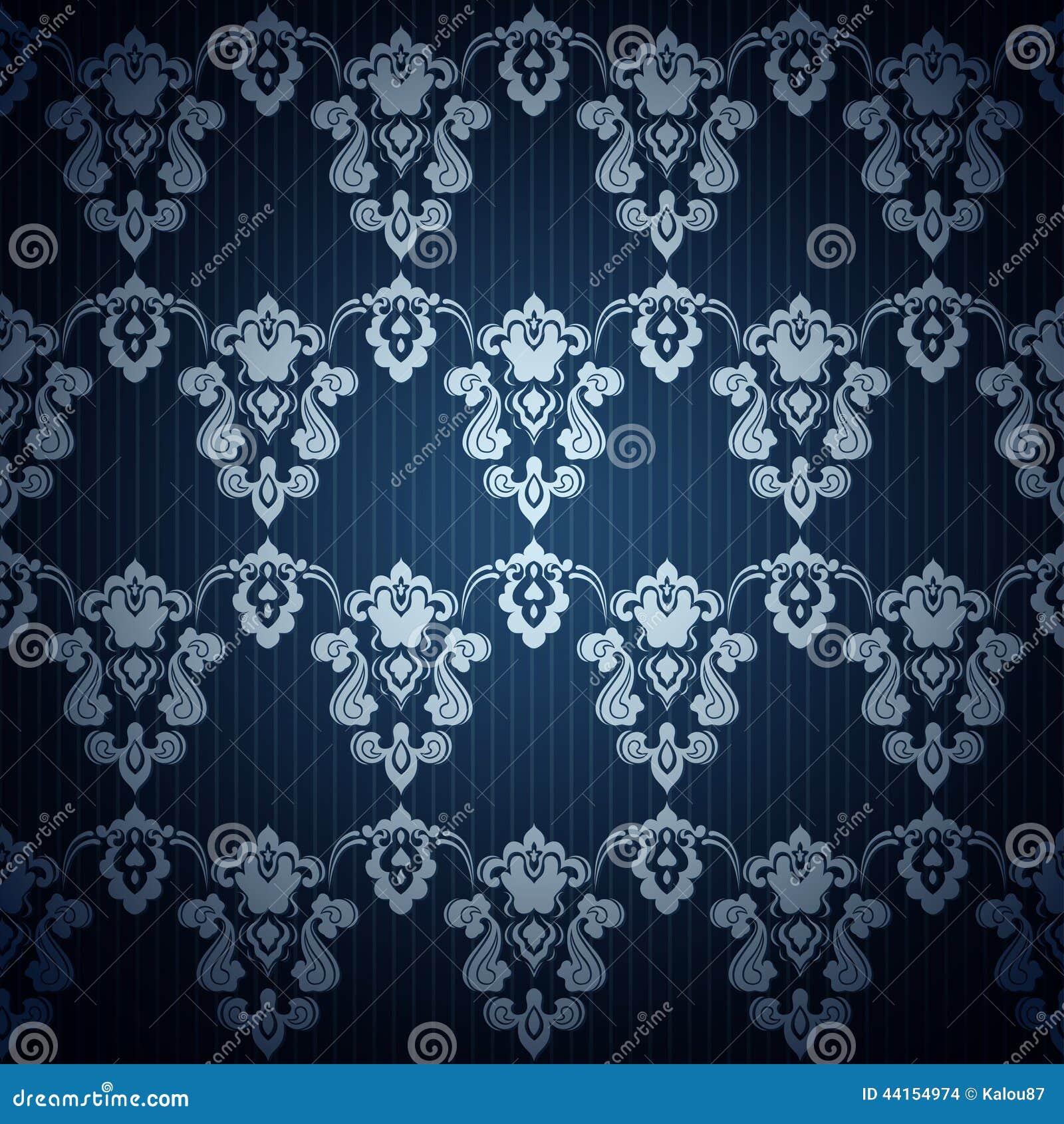 Carta da parati blu scuro senza cuciture nello stile retro