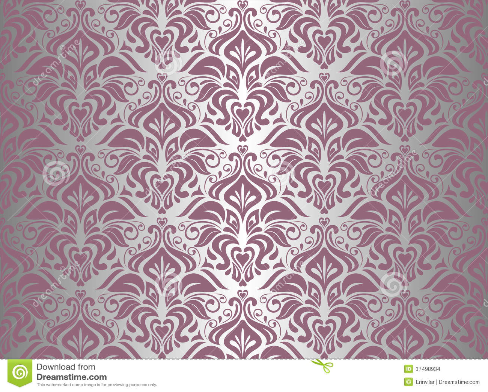 Carta Da Parati Damascata Rosa : Carta da parati d annata rosa d argento illustrazione vettoriale