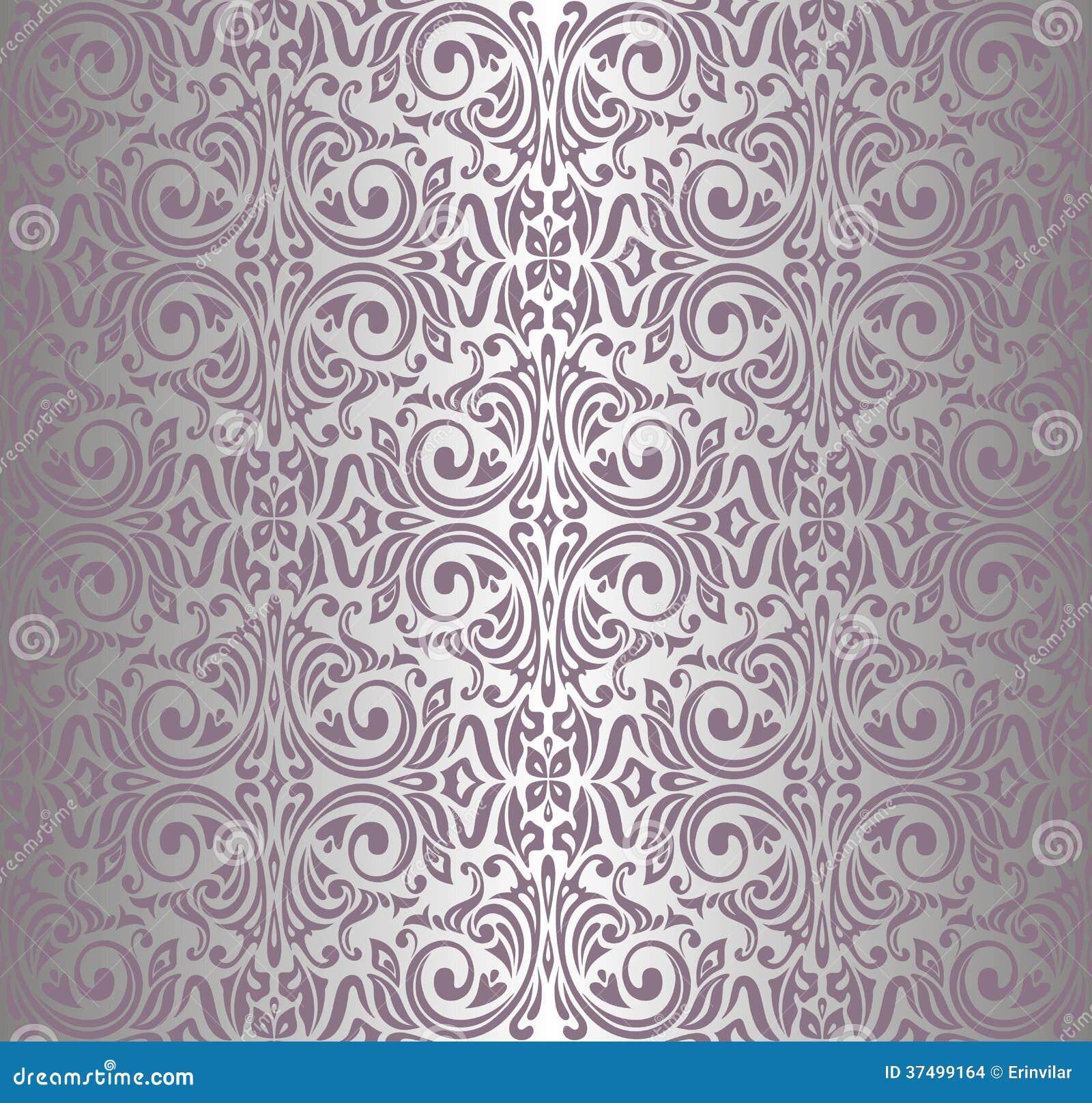 Carta da parati d 39 annata rosa d 39 argento illustrazione for Carta da parati damascata argento