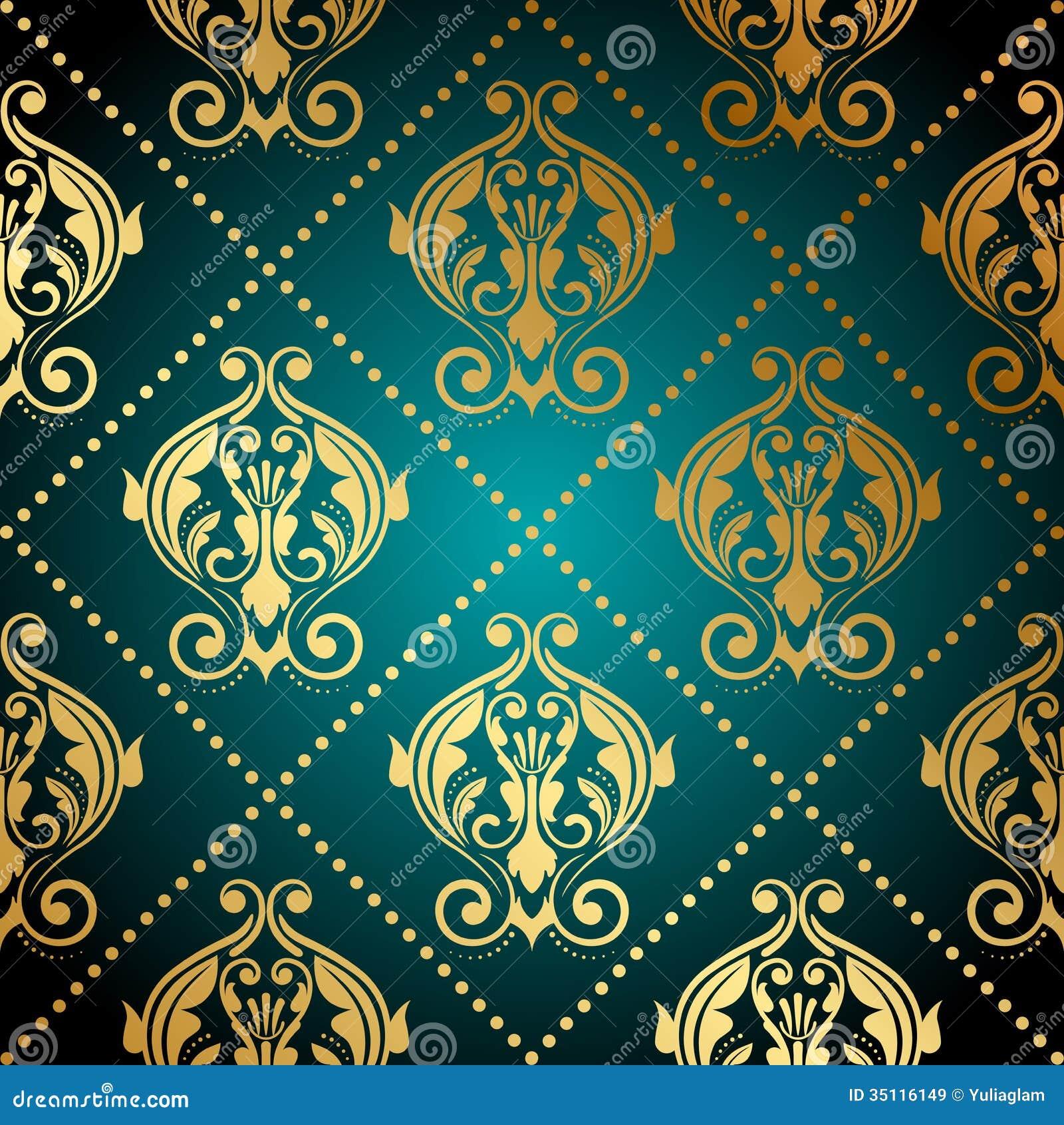 Carta da parati decorata dell 39 oro e del turchese for Carta da parati oro