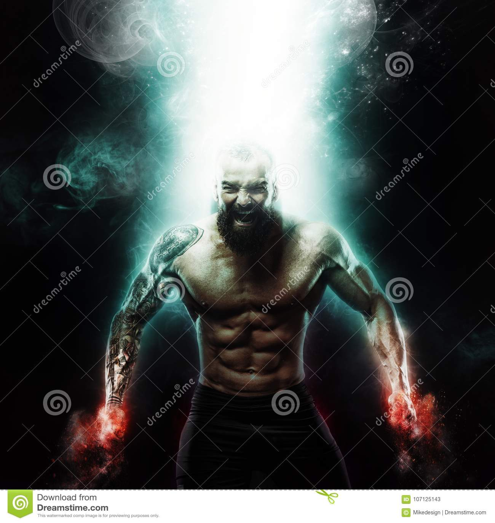 Carta da parati di motivazione e di sport su fondo scuro Culturista atletico del tipo di potere Fuoco ed energia