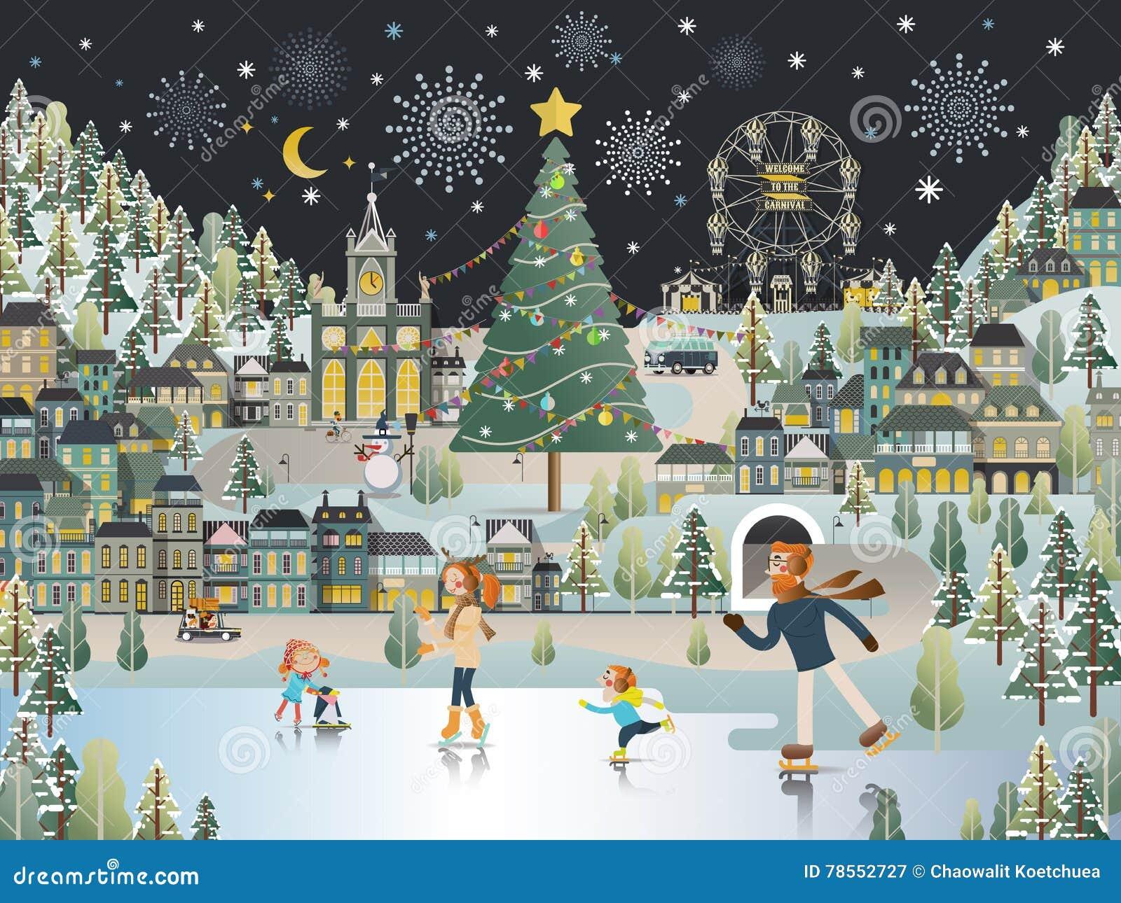Carta da parati di scena di notte di Natale del paesaggio del villaggio della neve