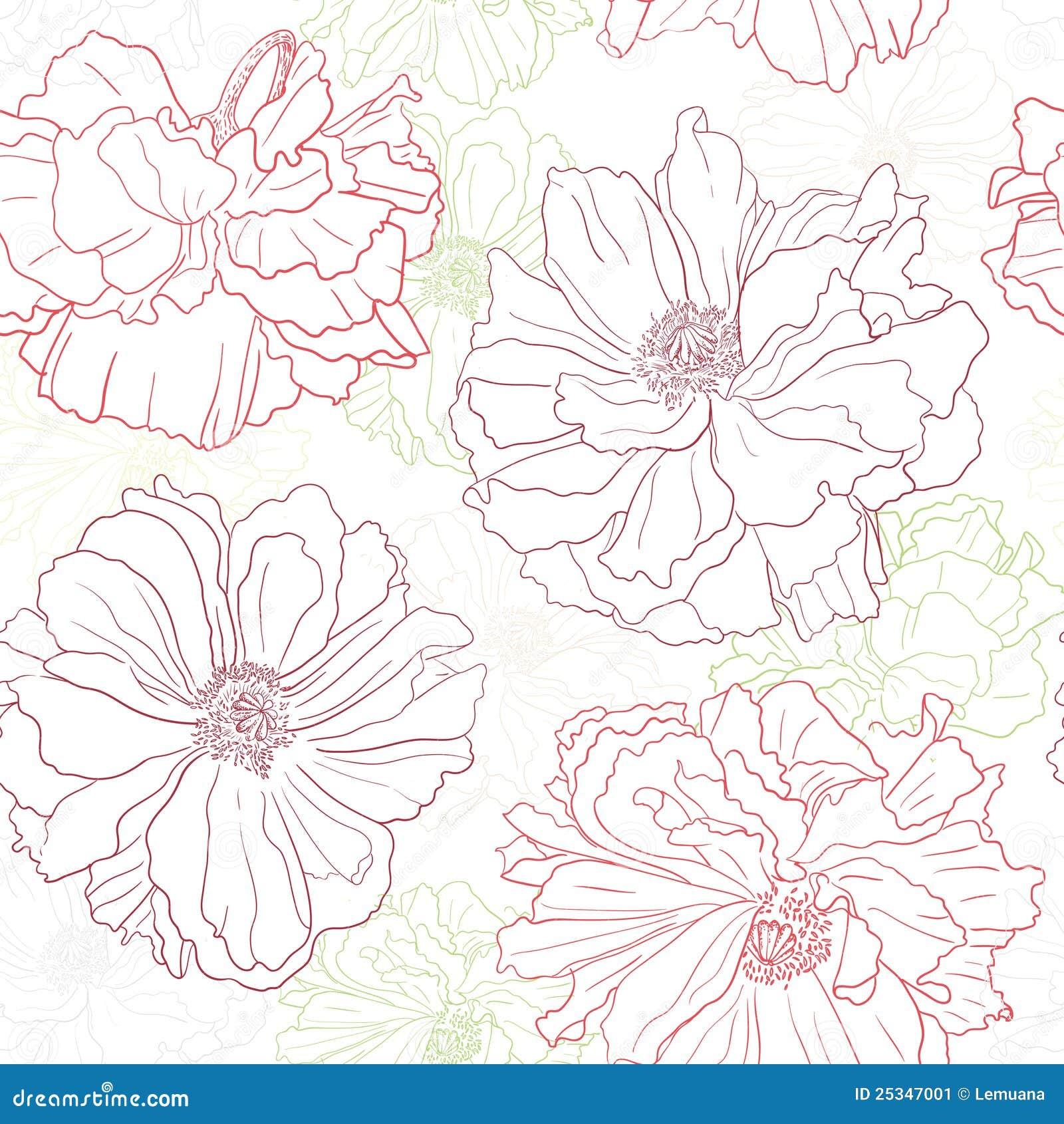 Carta da parati floreale con i fiori del papavero immagine for Carta da parati etnica