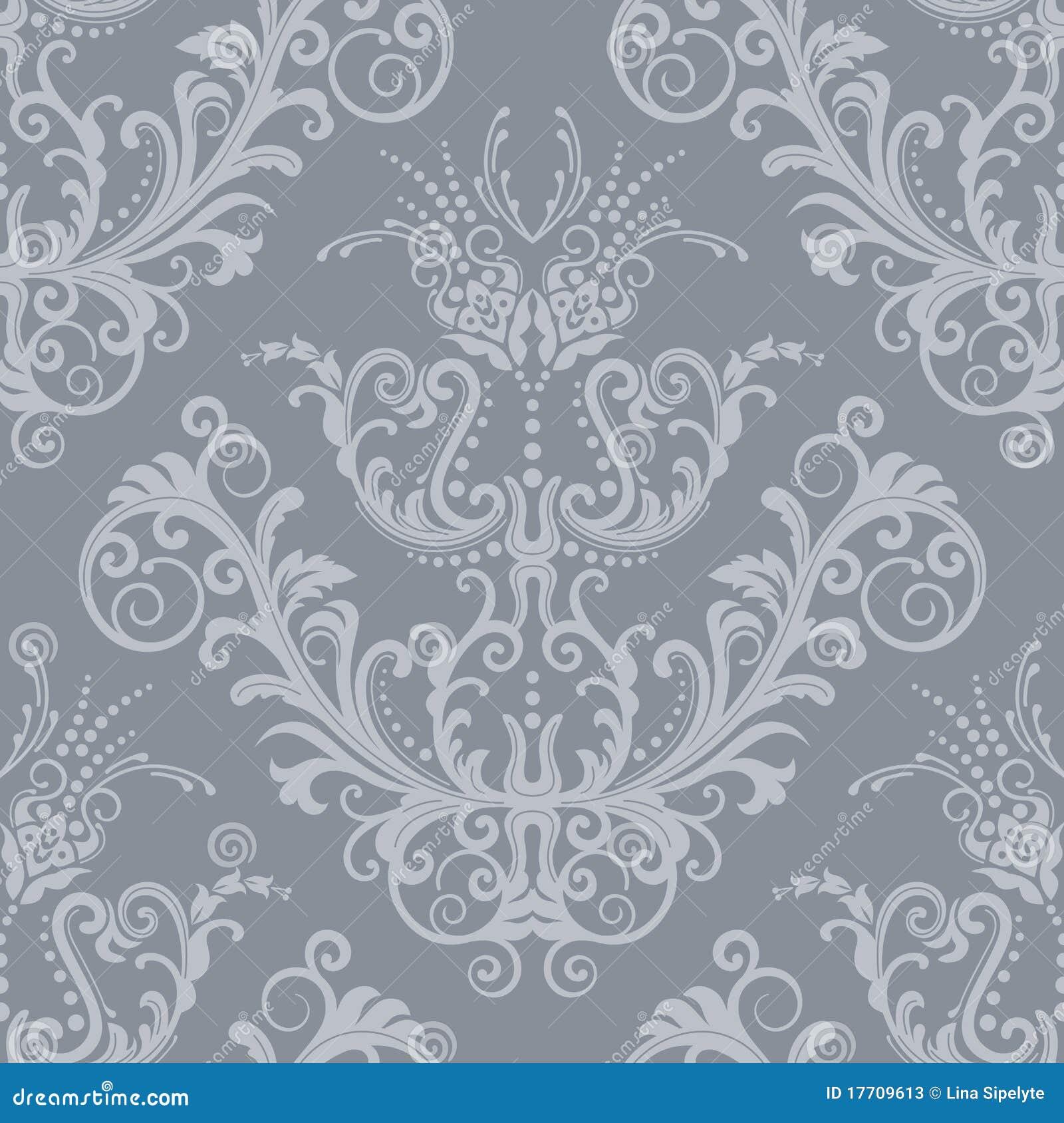 Carta da parati floreale d 39 argento di lusso dell 39 annata for Carta parati argento