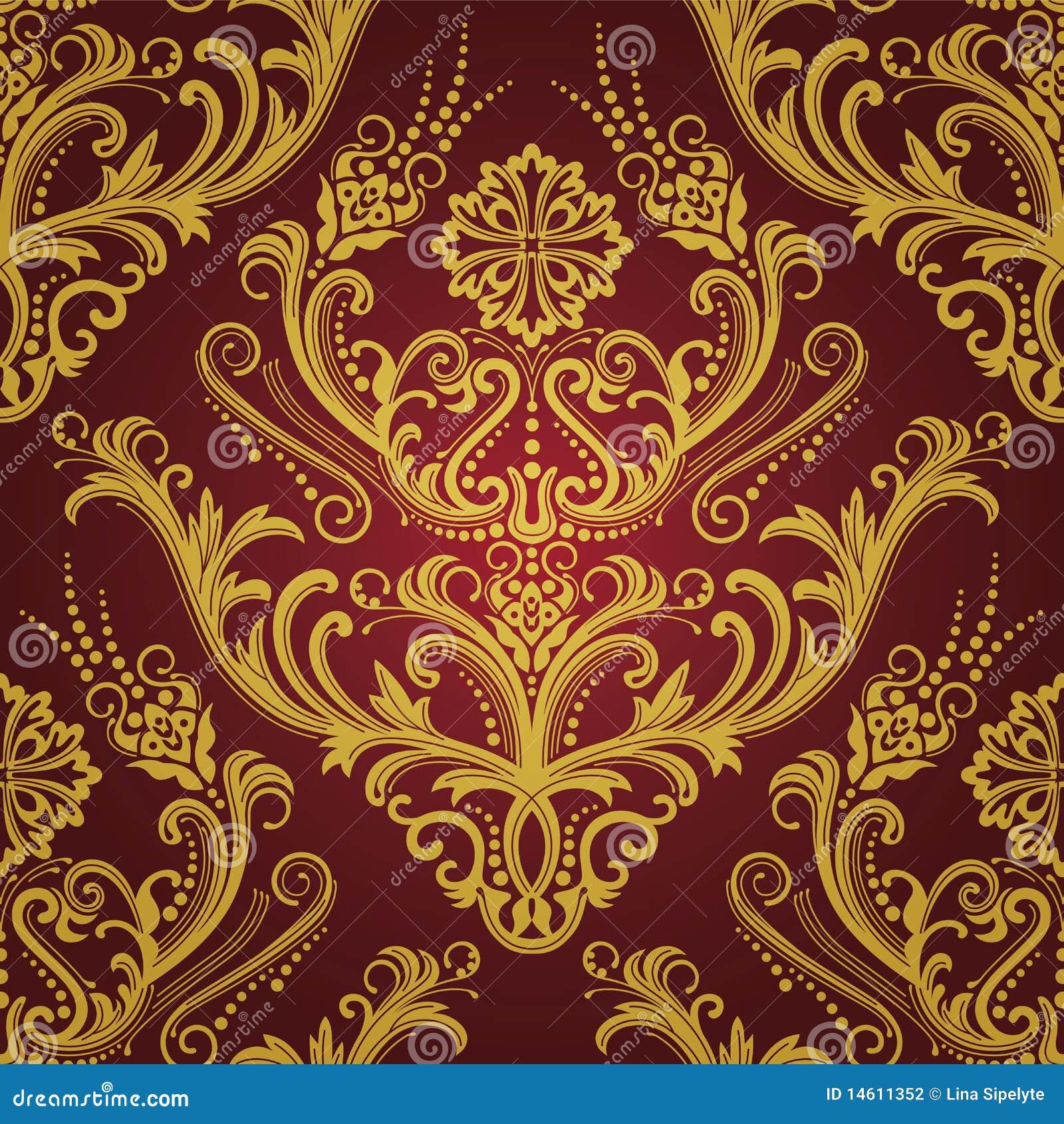 Carta da parati floreale di lusso dell 39 oro di colore for Stock carta da parati