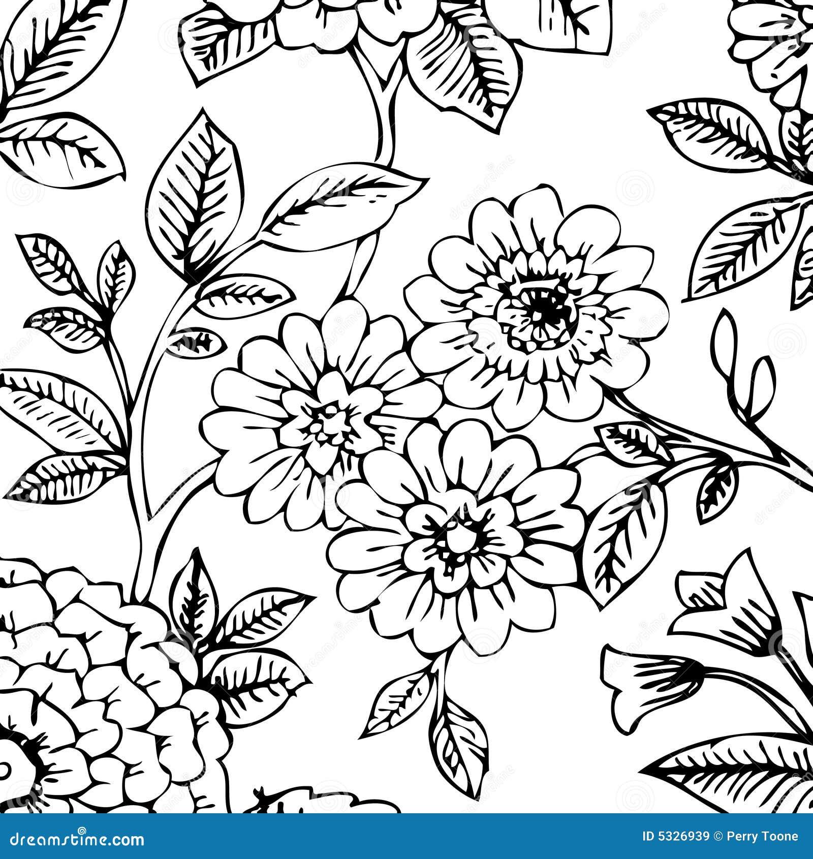 Carta Da Parati Floreale Bianco E Nero.Carta Da Parati Floreale Nera Bianca Illustrazione Vettoriale