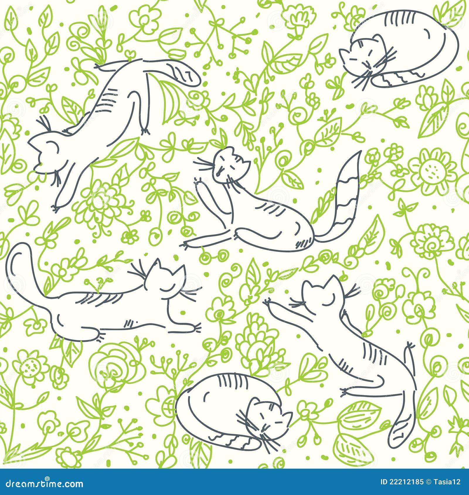 Carta da parati floreale senza giunte con i gatti for Stock carta da parati