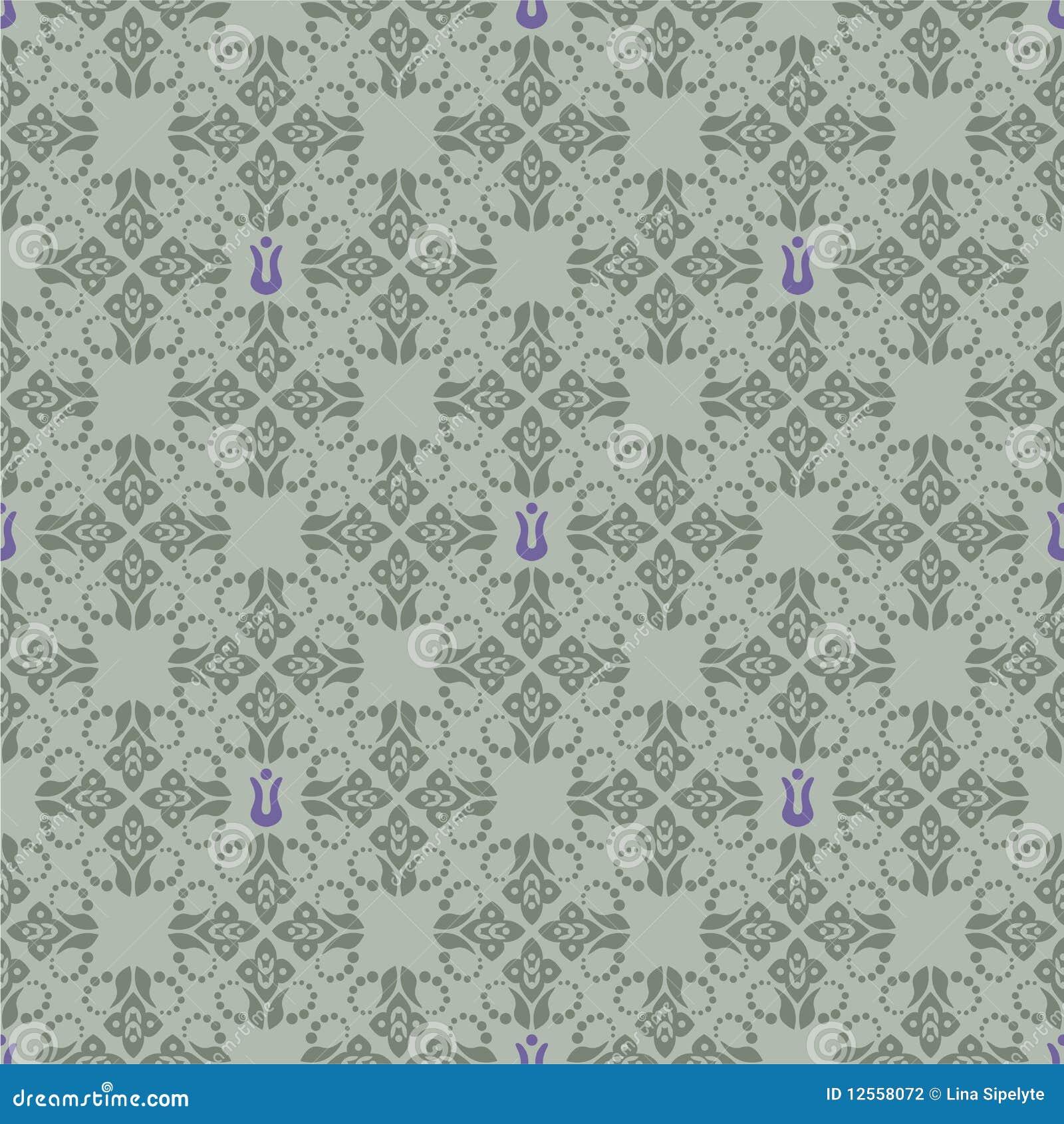 Carta da parati floreale verde e viola senza giunte for Carta parati verde