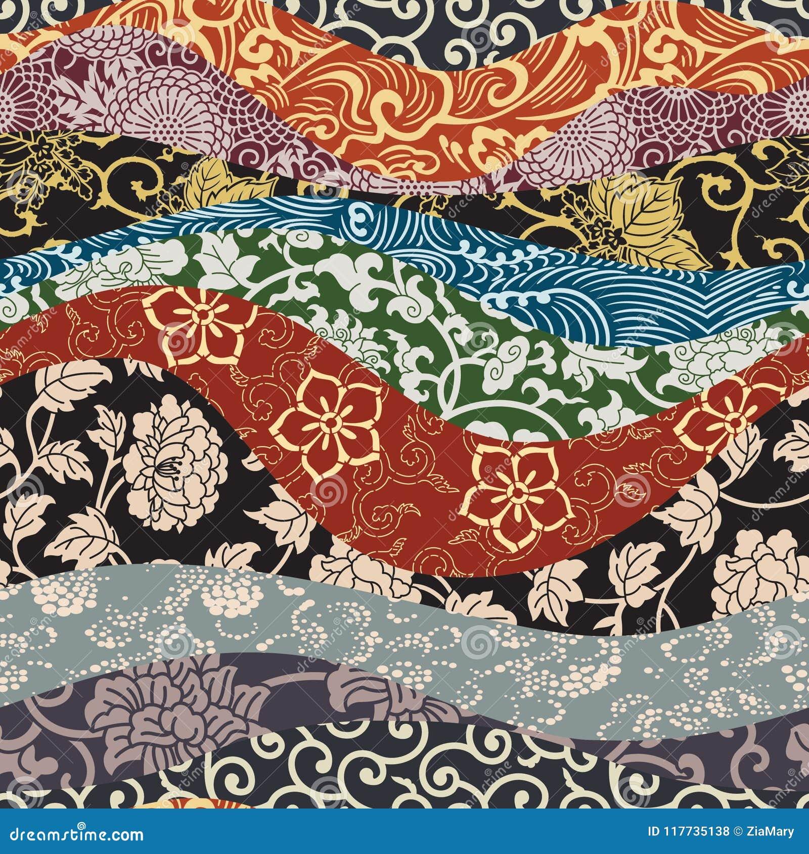 Carta Da Parati Giapponese Della Rappezzatura Del Tessuto Di Stile