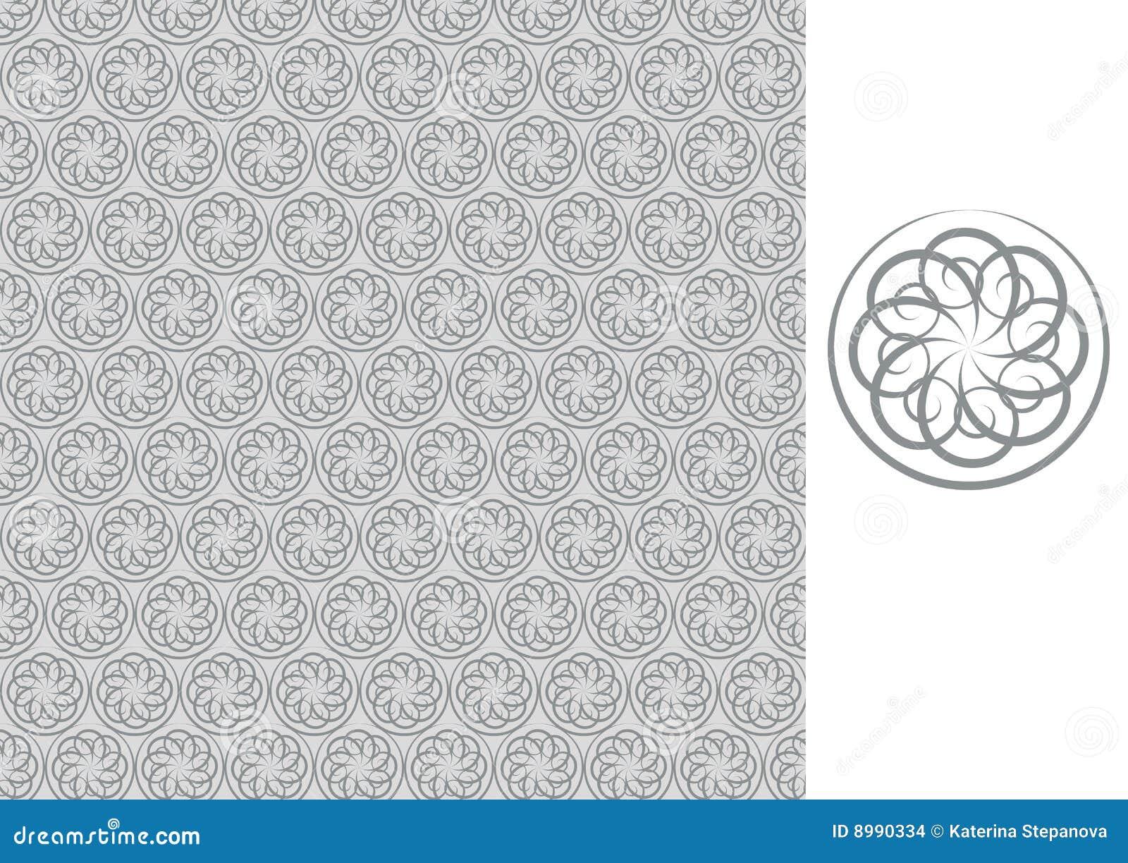 Carta da parati grigio senza giunte floreale illustrazione for Carta parati grigia