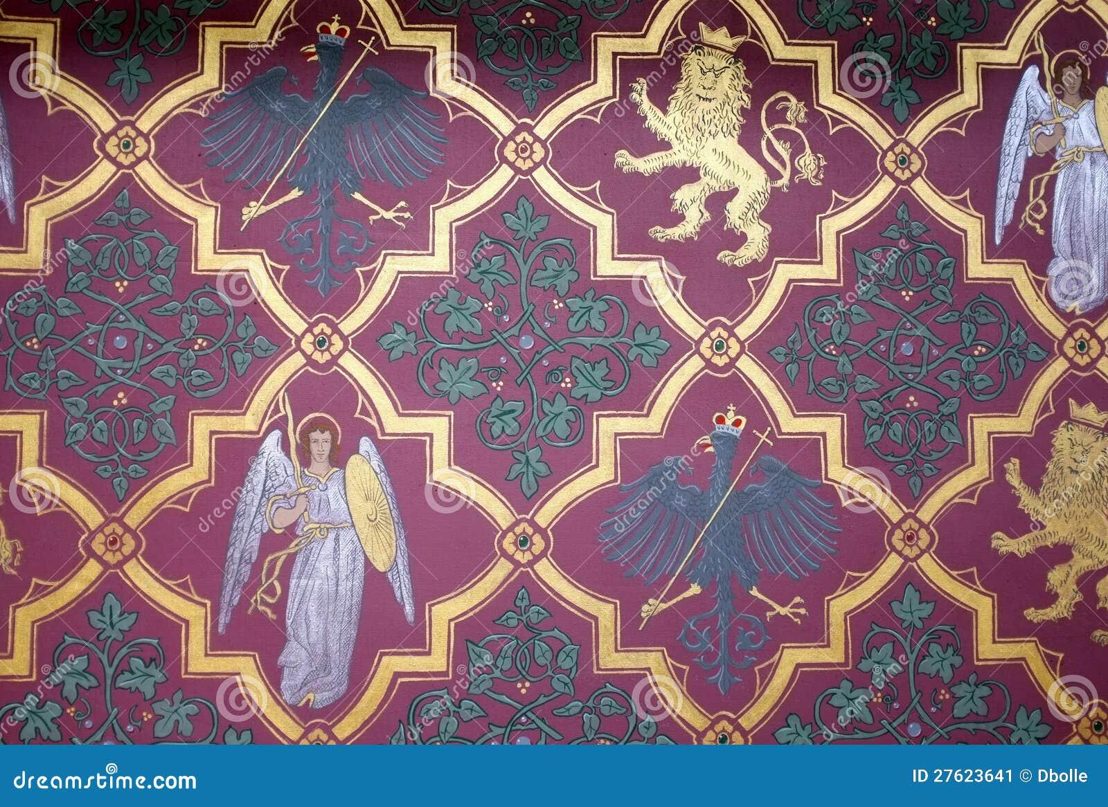 Carta da parati medioevale storica della parete con gli for Stock carta da parati