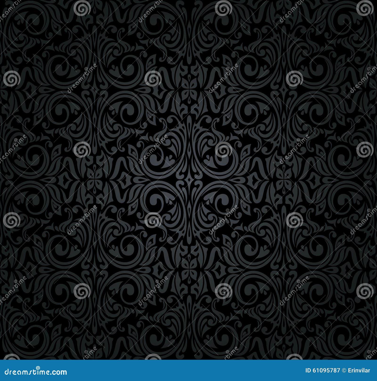 Carta da parati nera dell 39 annata illustrazione vettoriale for Carta da parati nera damascata