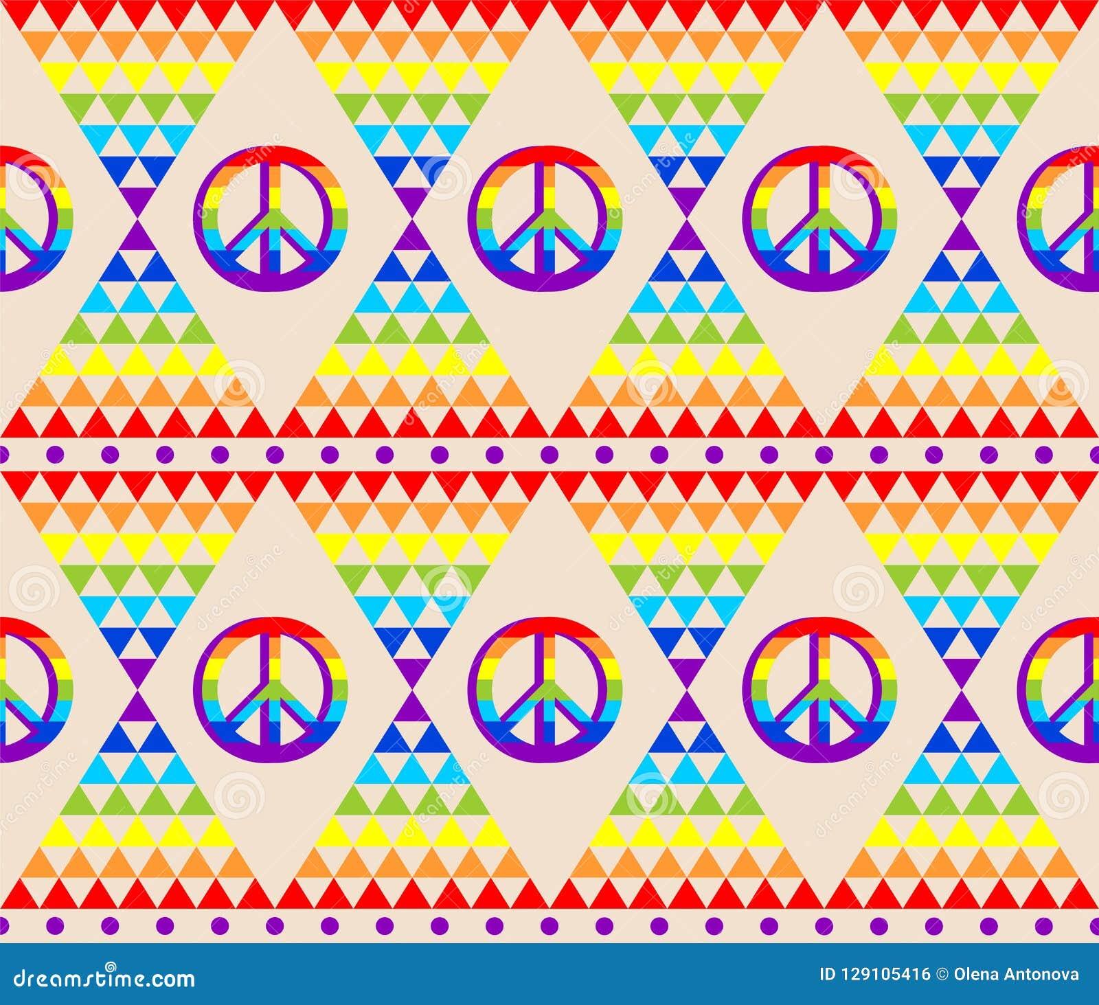Carta da parati senza cuciture astratta d annata con il modello variopinto del triangolo psichedelico ed il simbolo di pace di hi