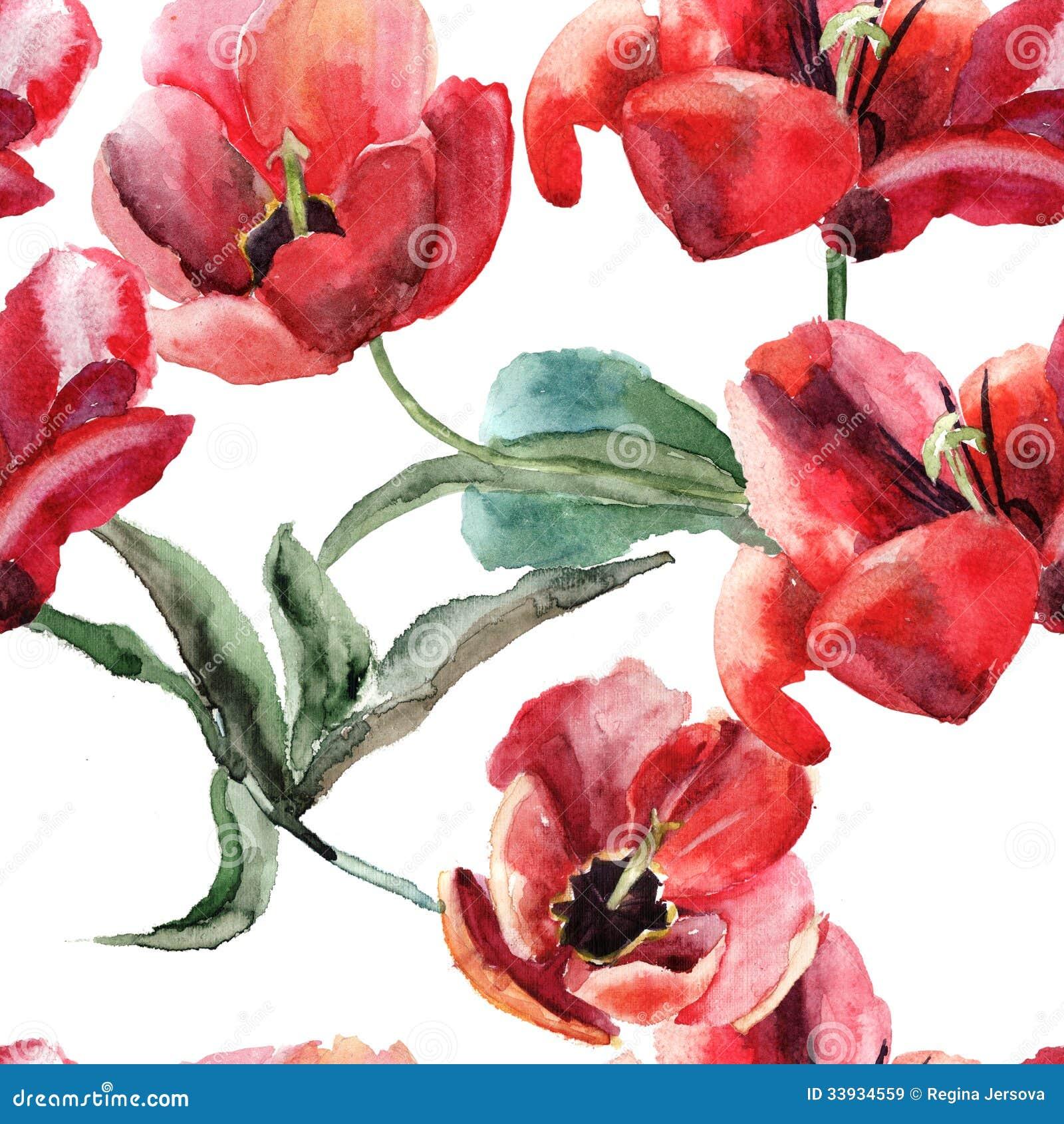 Carta da parati senza cuciture con i bei fiori dei for Stoffa da parati