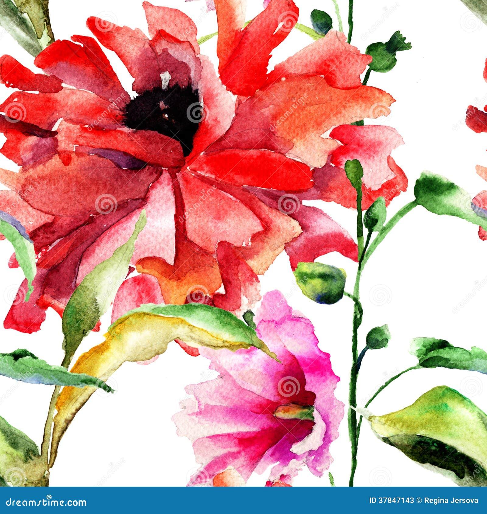 Carta da parati senza cuciture con i bei fiori originali for Carta parati fiori