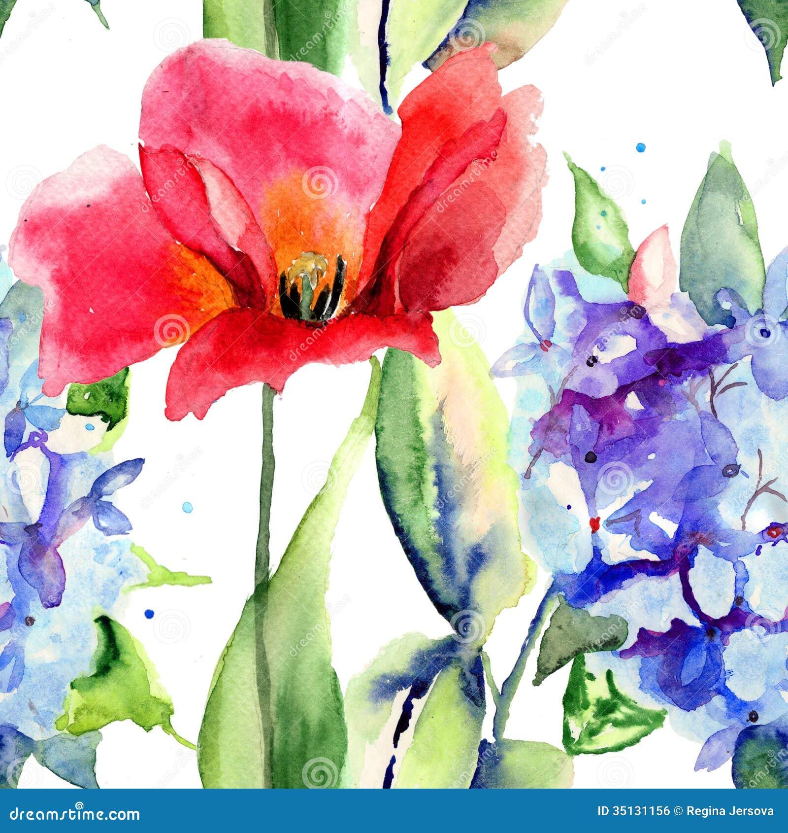 Carta da parati senza cuciture con i fiori dell 39 ortensia e for Carta da parati con fiori