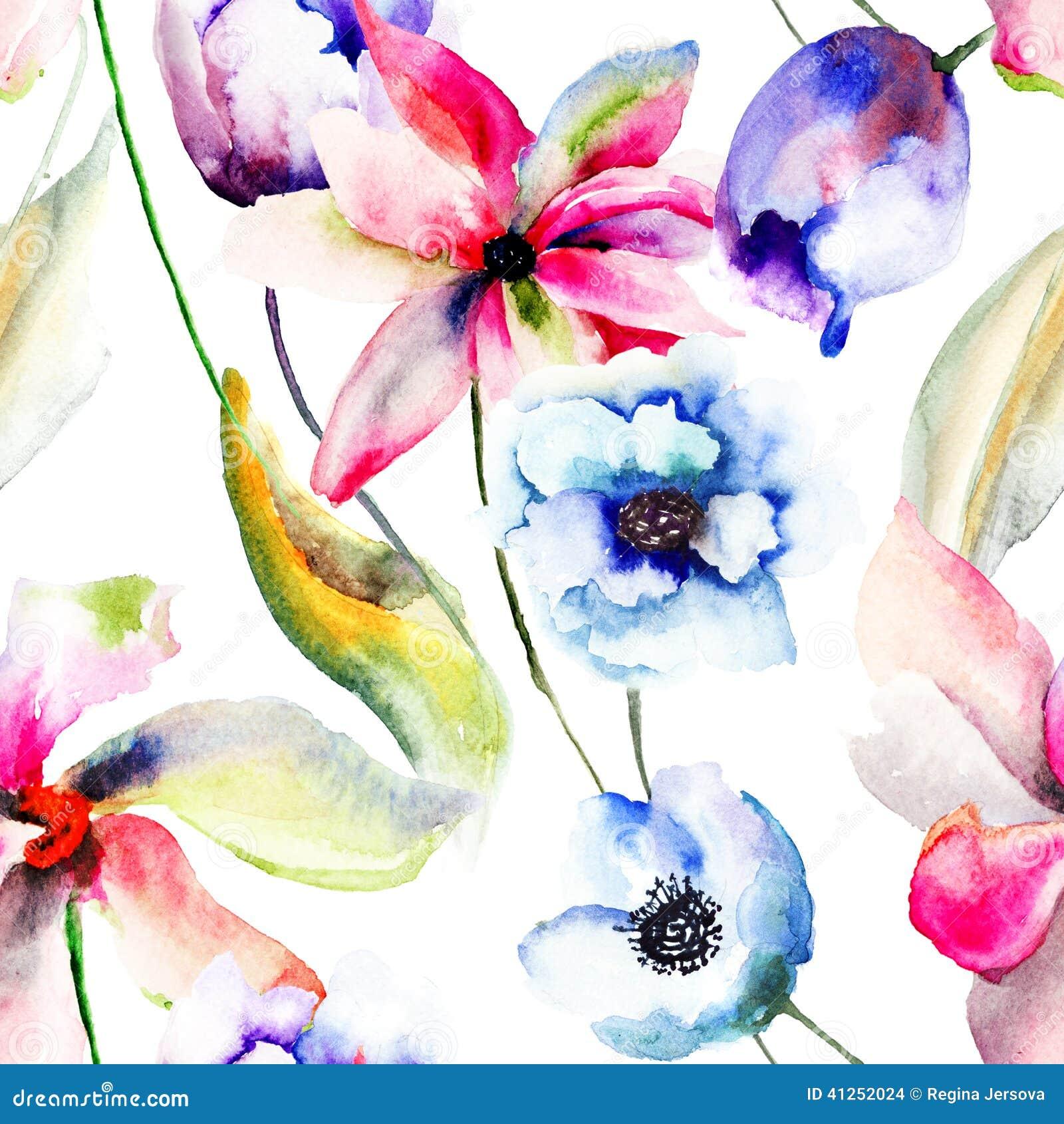 Carta da parati senza giunte con i fiori stilizzati for Carta da parati online shop