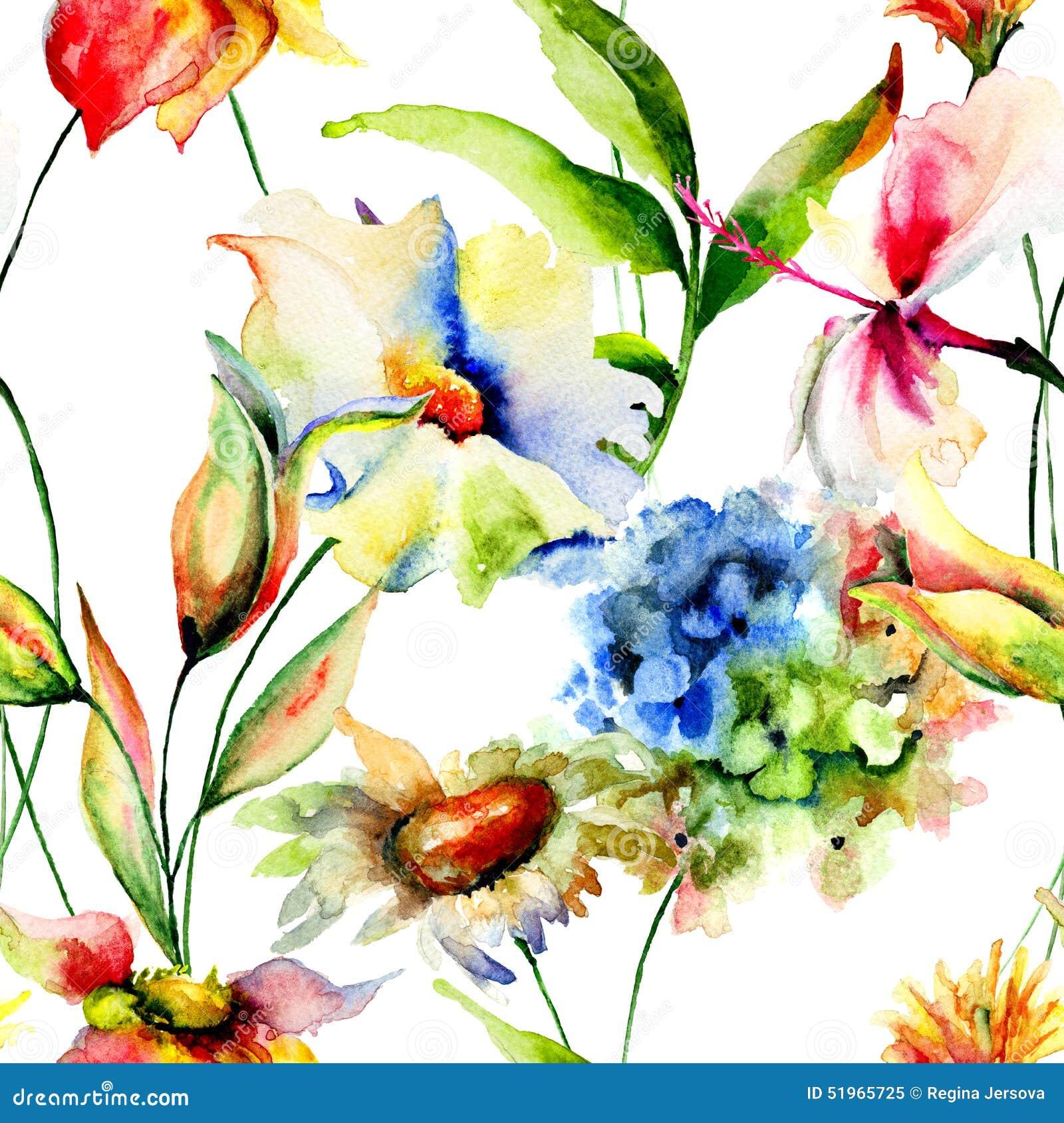 Carta da parati senza giunte con i fiori stilizzati for Carta da parati fiori grandi