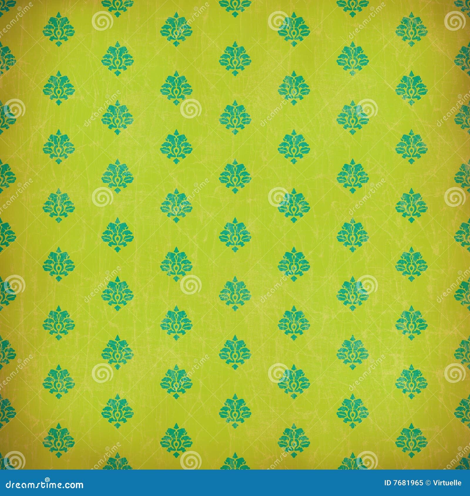 Carta da parati verde del grunge del damasco fotografia for Carta parati verde