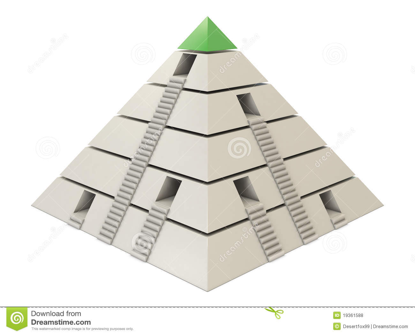 Carta da pirâmide verde-branca com escadas e furos