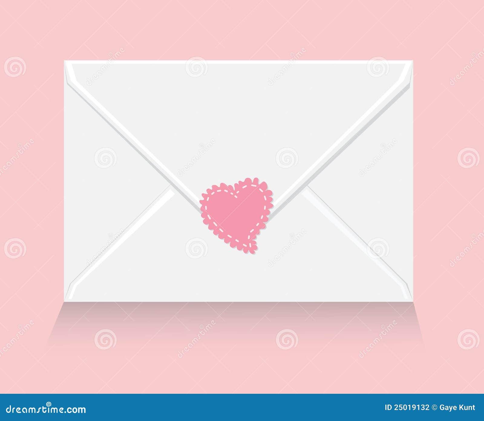 Carta De Amor Con La Etiqueta Engomada Del Corazón Ilustración Del