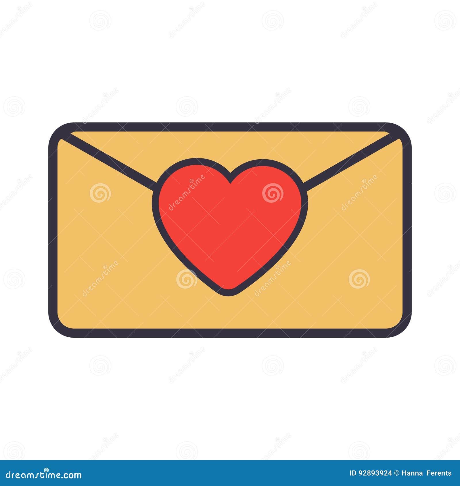 Carta De Amor Sobre Con El Corazón Ilustración Del Vector