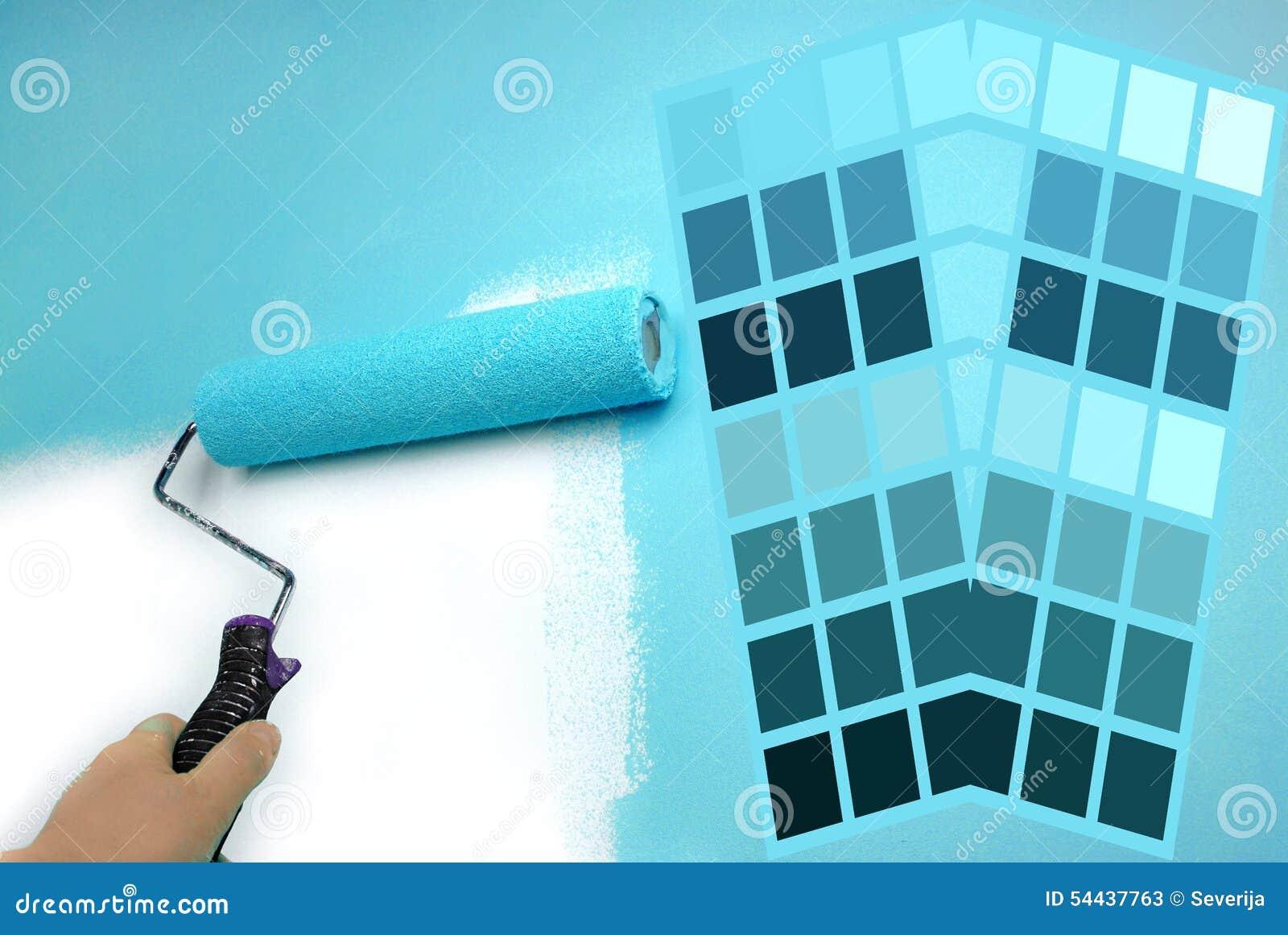 Carta de color y pared de la pintura de la mano foto de - Carta de colores azules ...