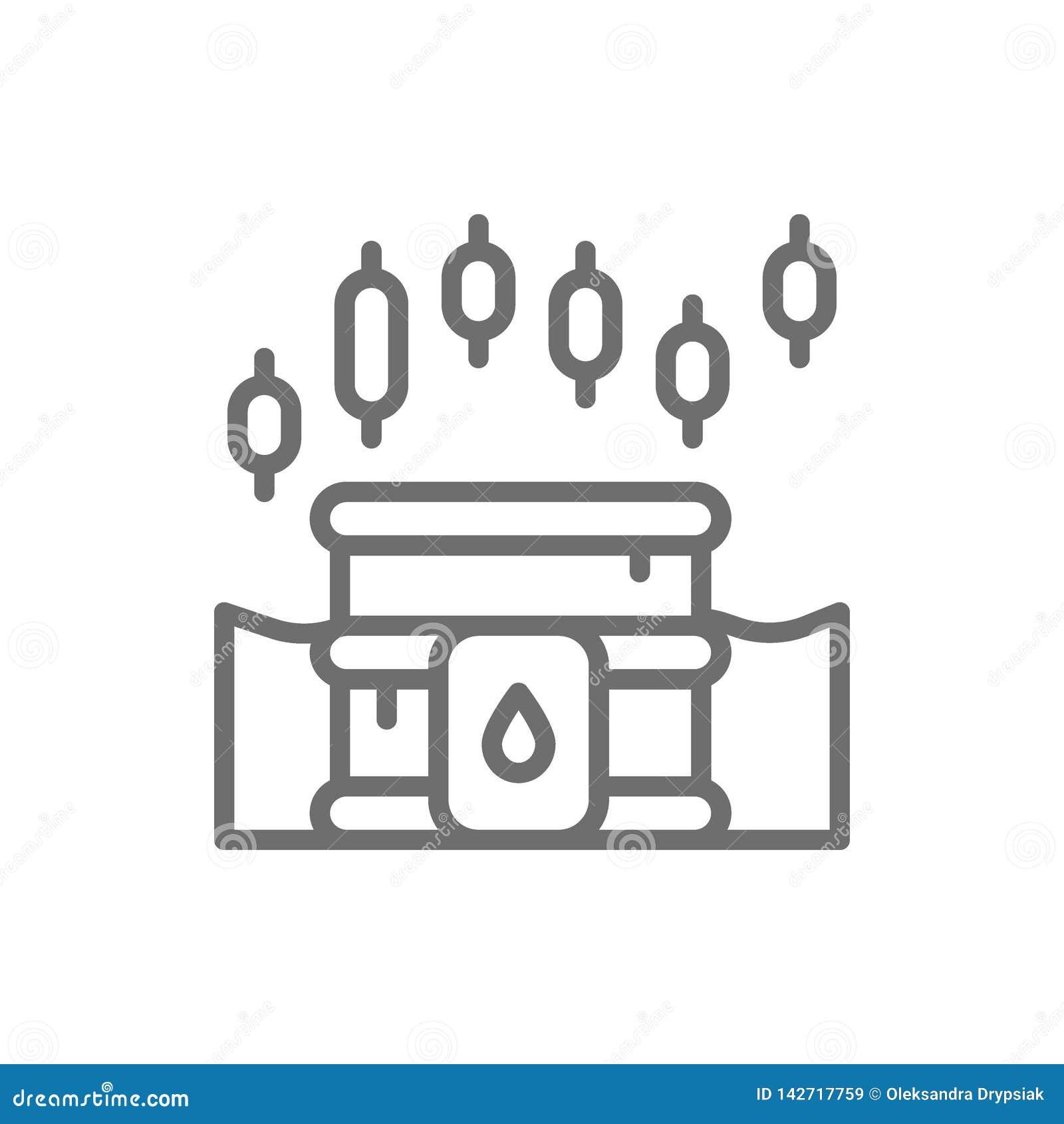 Carta de crecimiento del índice del barril de aceite, precio creciente de combustible, línea icono del mercado de acción