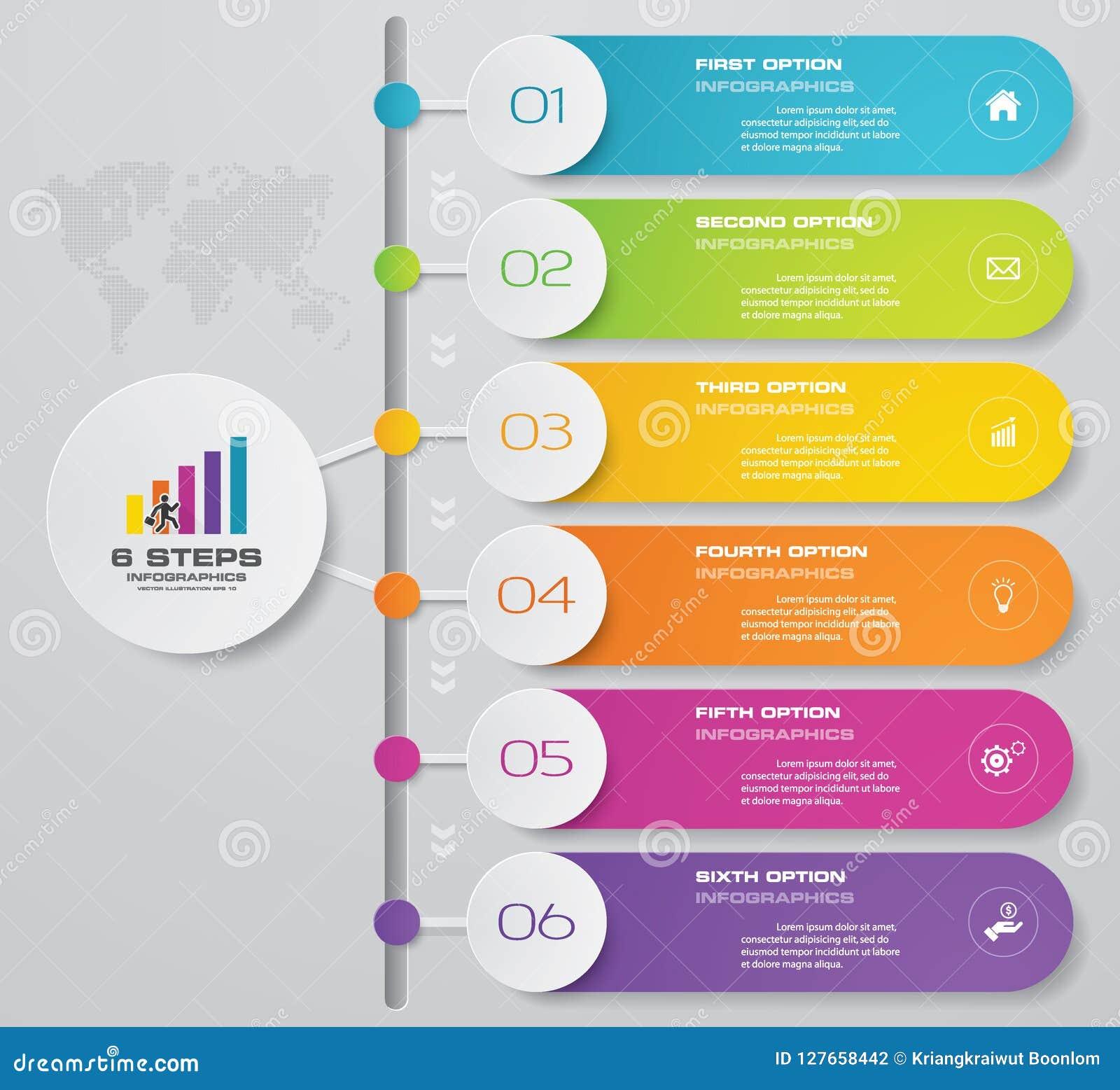 Carta de elemento de Infographics de 6 pasos para la presentación EPS 10