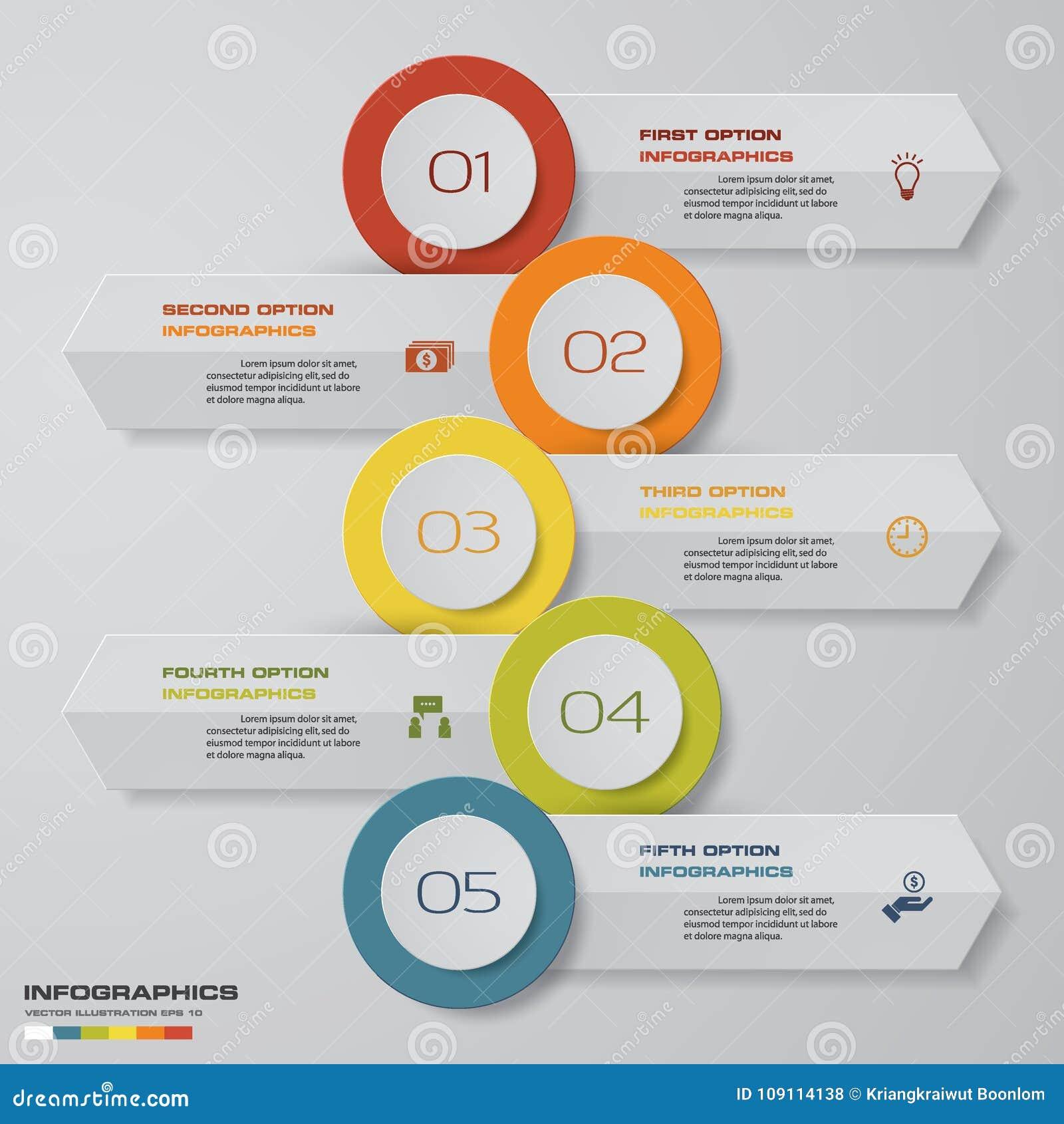 Carta De Negocio Abstracta Plantilla Del Diagrama De 5 Pasos Idea ...