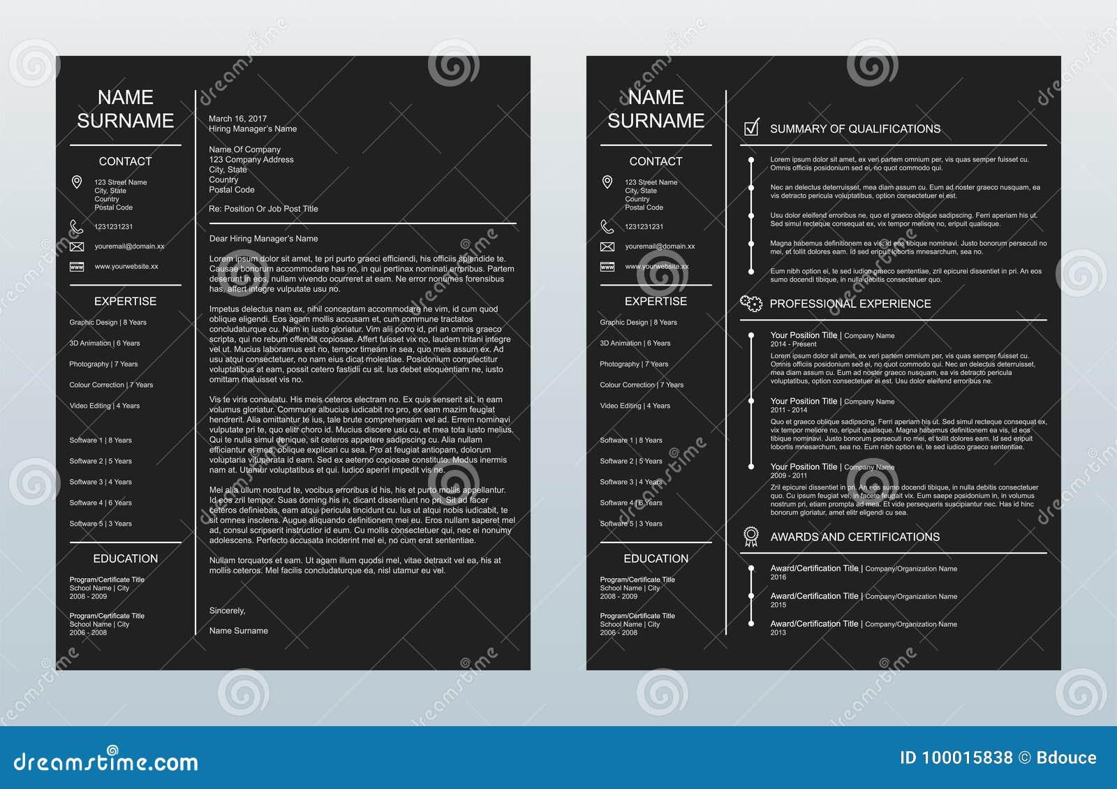 Carta de presentación creativa minimalista del vector y una plantilla de la página Resume/CV en fondo del carbón de leña