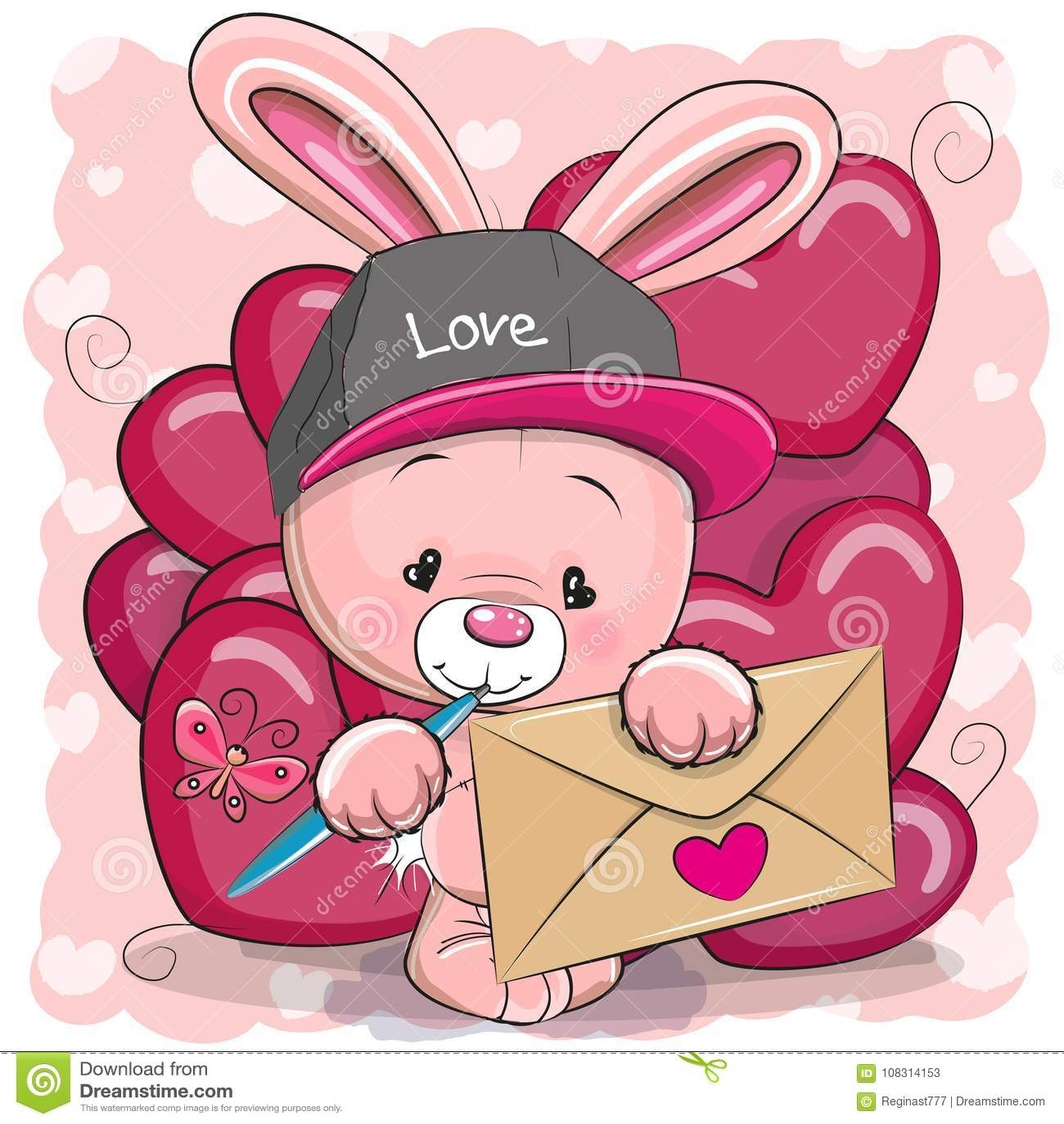 Carta del biglietto di S. Valentino con il coniglio sveglio del fumetto