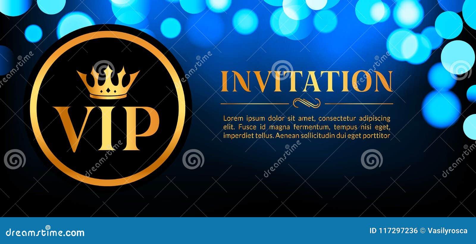 Carta dell invito di VIP con il fondo d ardore del bokeh e dell oro Progettazione elegante di lusso premio