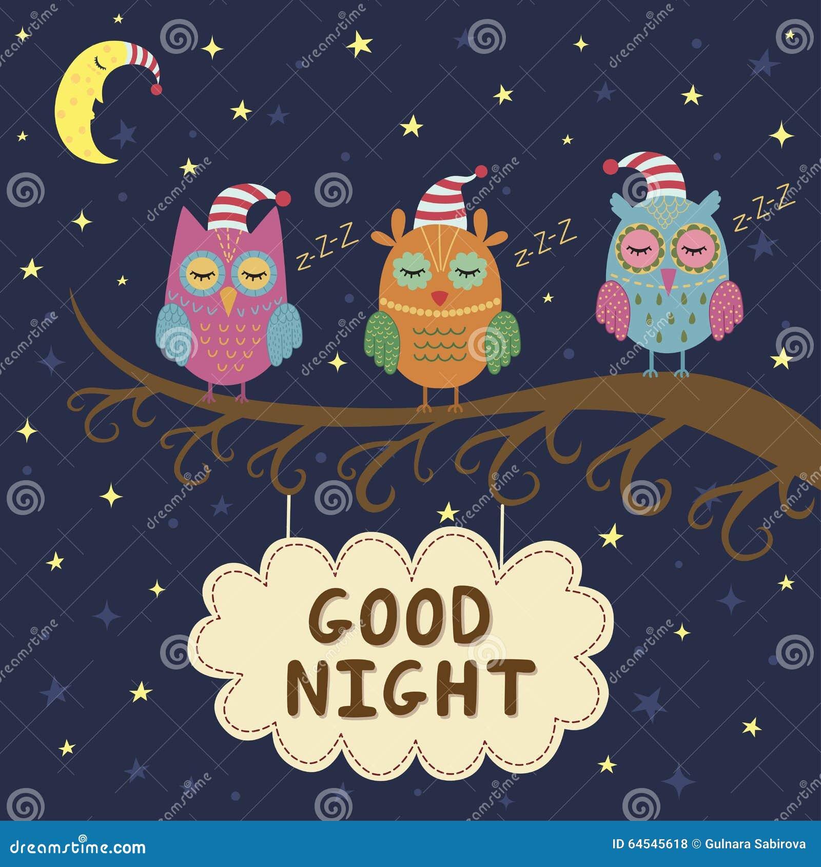 Carta Della Buona Notte Con I Gufi Svegli Di Sonno Illustrazione
