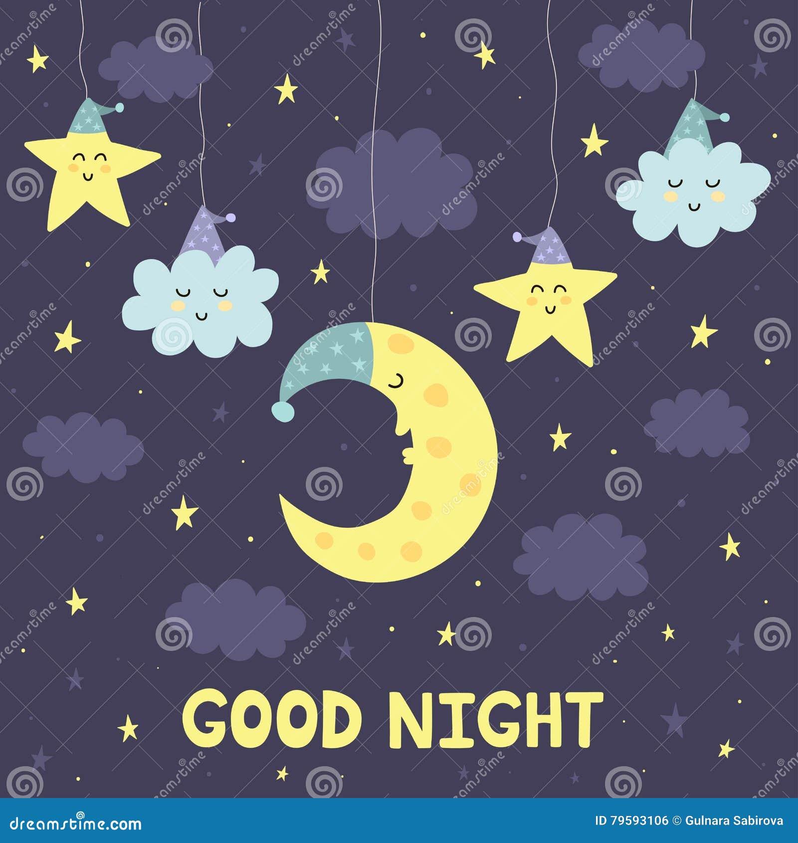 Carta Della Buona Notte Con La Luna E Le Stelle Sveglie Di Sonno