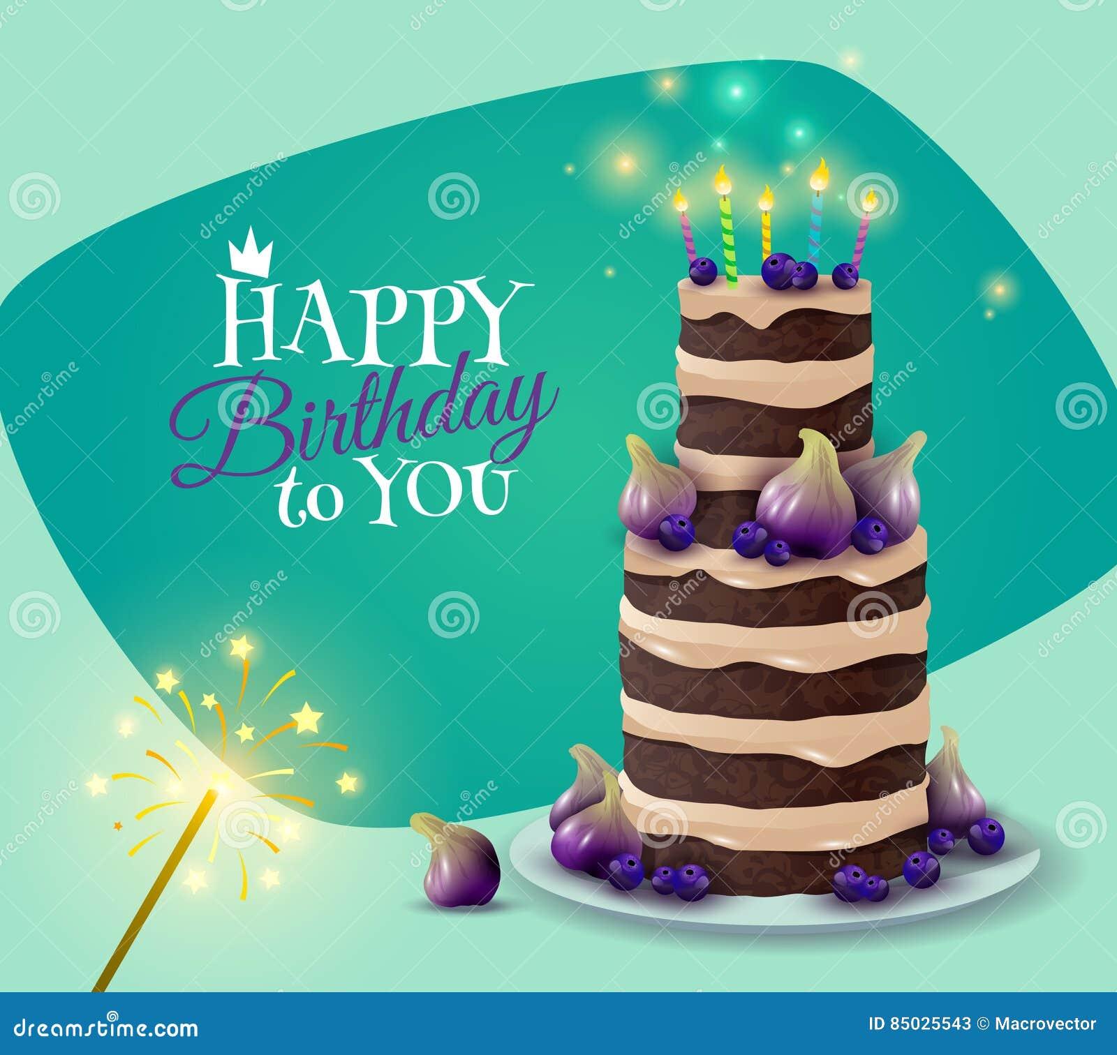 Carta della torta di compleanno illustrazione vettoriale - Colorazione pagina della torta di compleanno ...