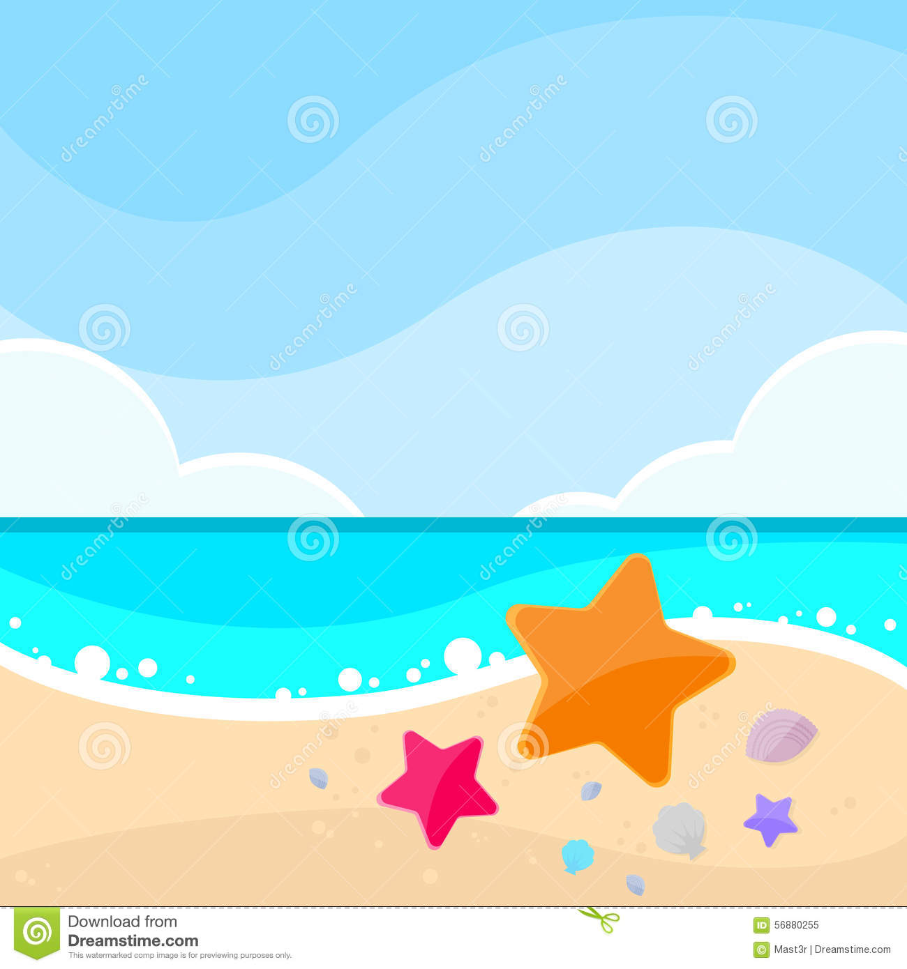 Carta delle stelle marine di Marine Beach Sand Sea Star di estate