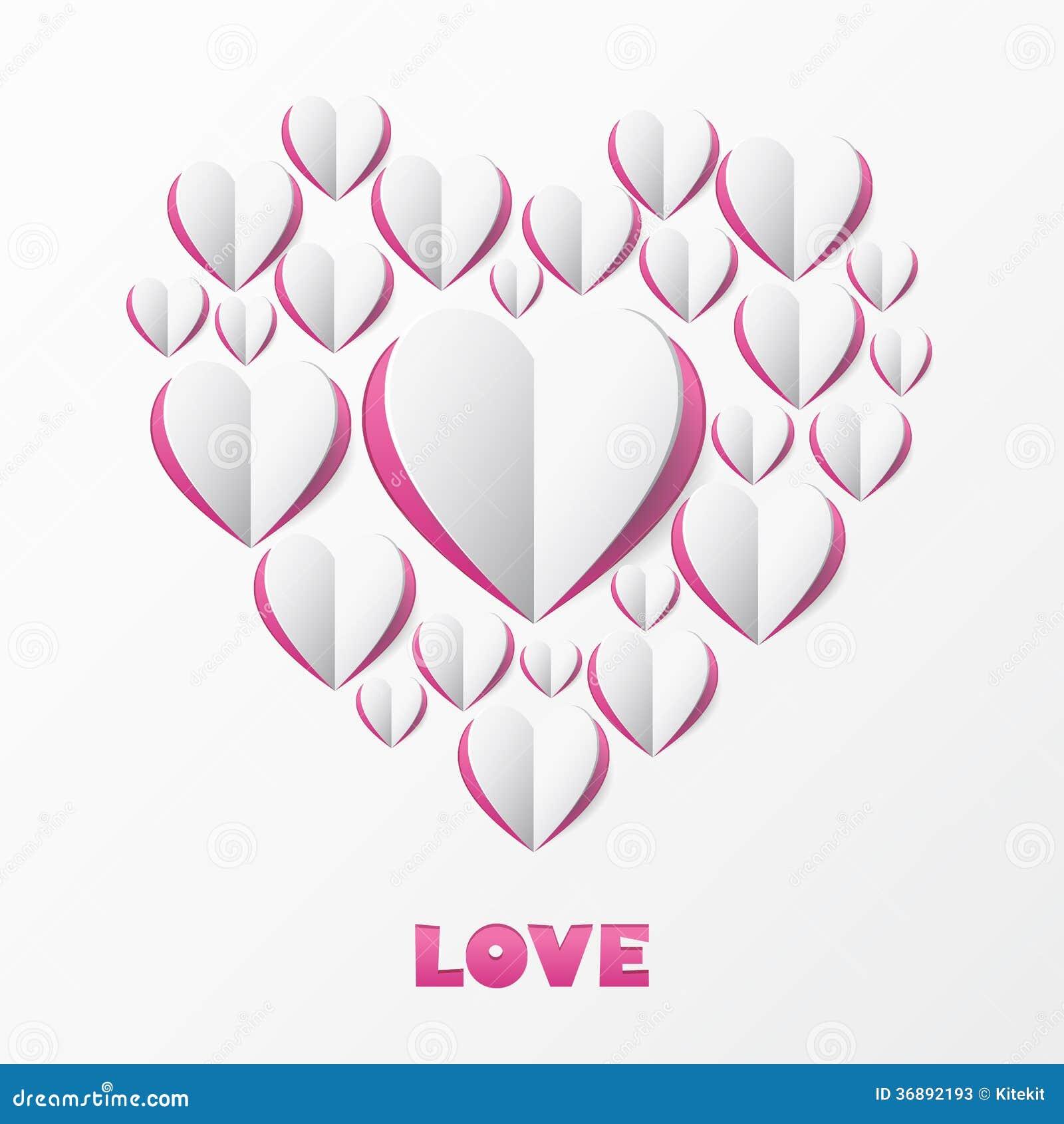 Download Carta Di Carta Di Amore Del Cuore. Modello Per La Cartolina D'auguri Di Progettazione, Weddin Illustrazione Vettoriale - Illustrazione di saluto, estratto: 36892193