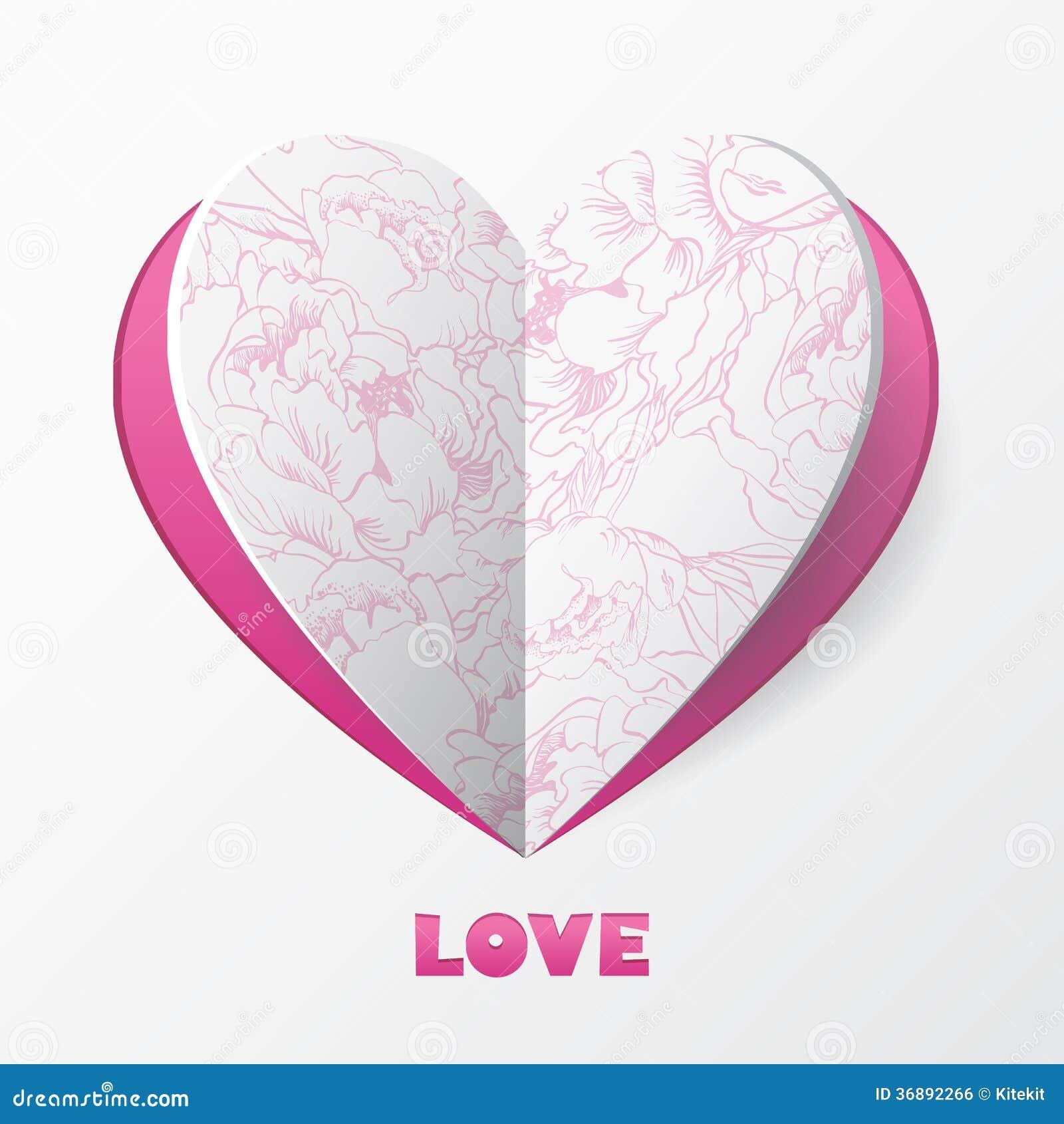Download Carta Di Carta Di Amore Del Cuore. Modello Per La Cartolina D'auguri Di Progettazione, Weddin Illustrazione Vettoriale - Illustrazione di festa, taglio: 36892266