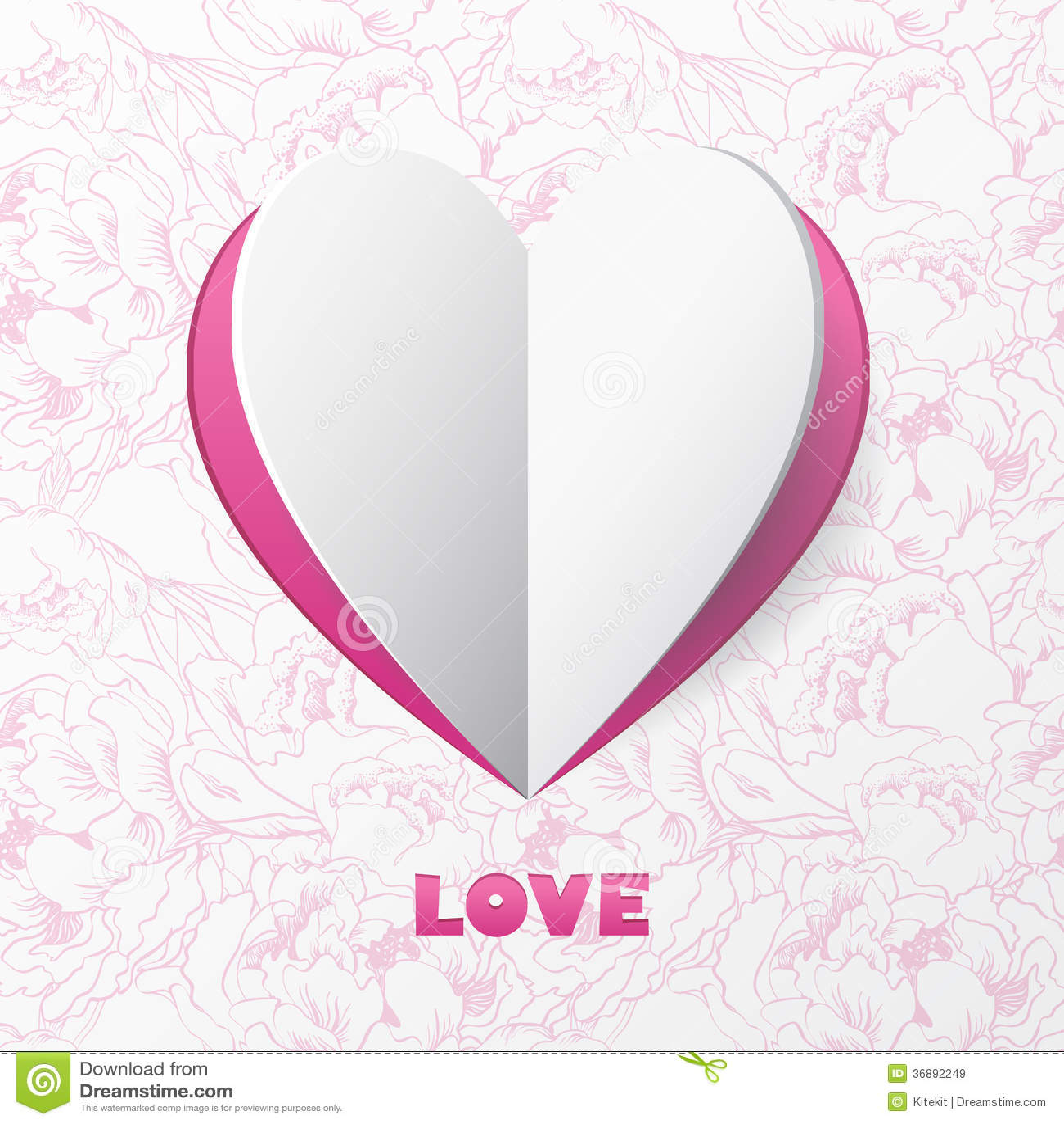 Download Carta Di Carta Di Amore Del Cuore Sui Cenni Storici Del Fiore. Modello Per Progettazione Illustrazione Vettoriale - Illustrazione di giorno, luce: 36892249