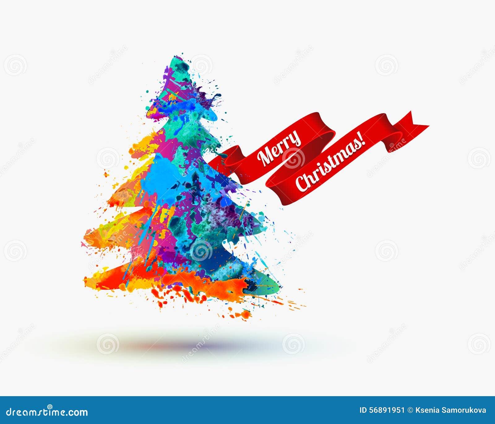 Carta di congratulazione di Buon Natale Illustrazione dell acquerello di vettore