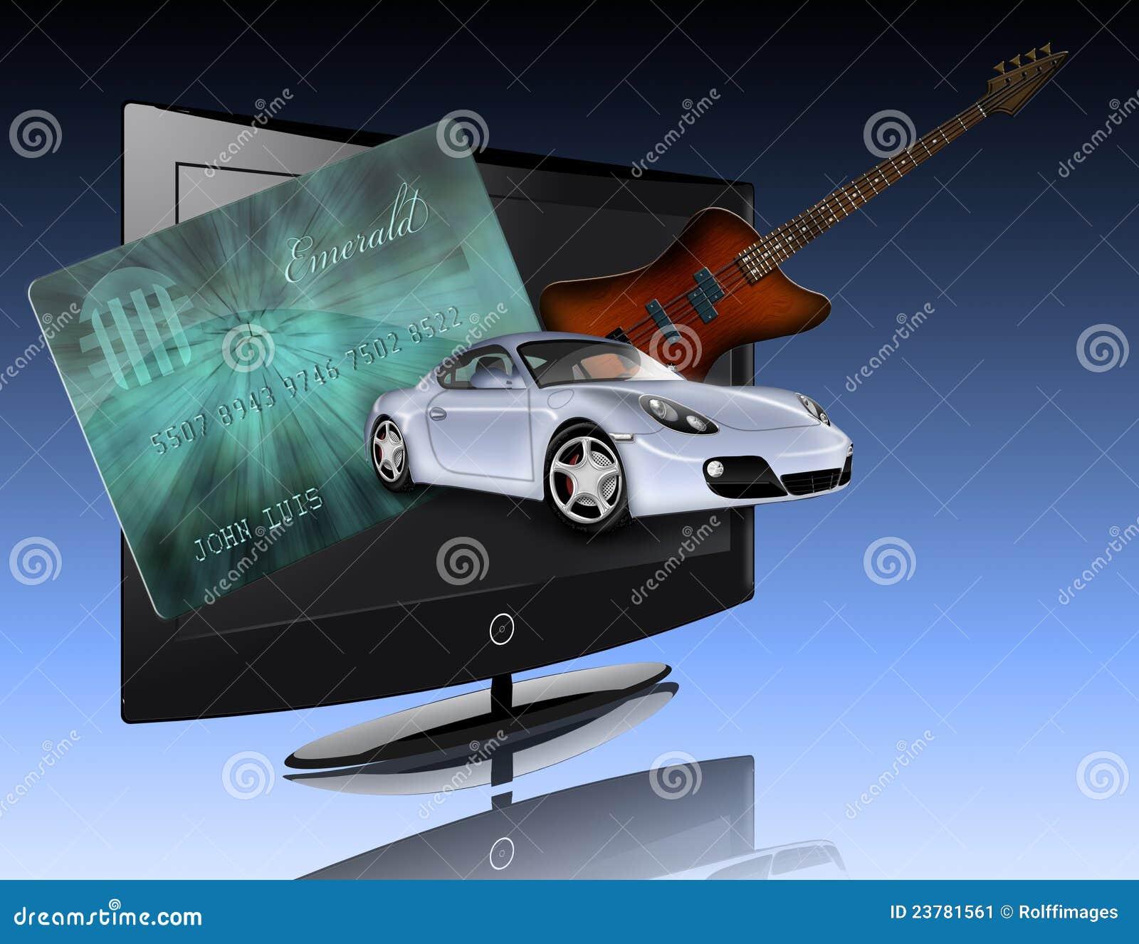 Carta di credito, automobile, schermo piatto e chitarra