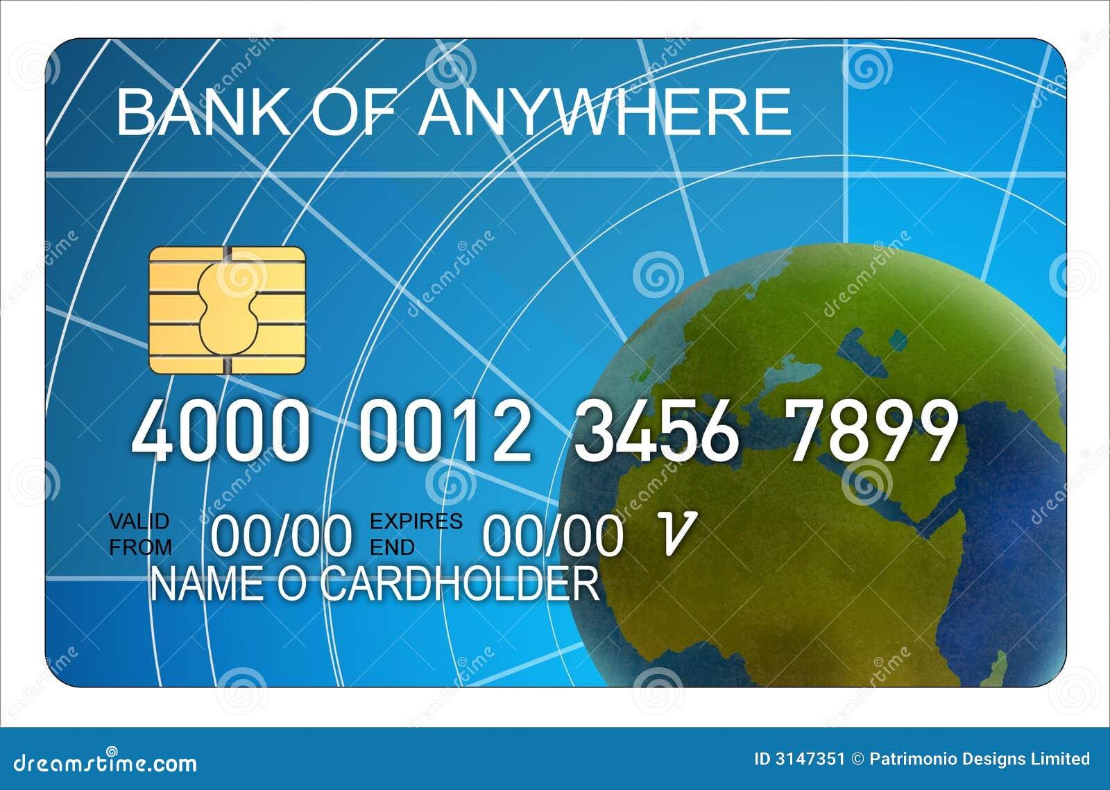 Carta di credito con il globo
