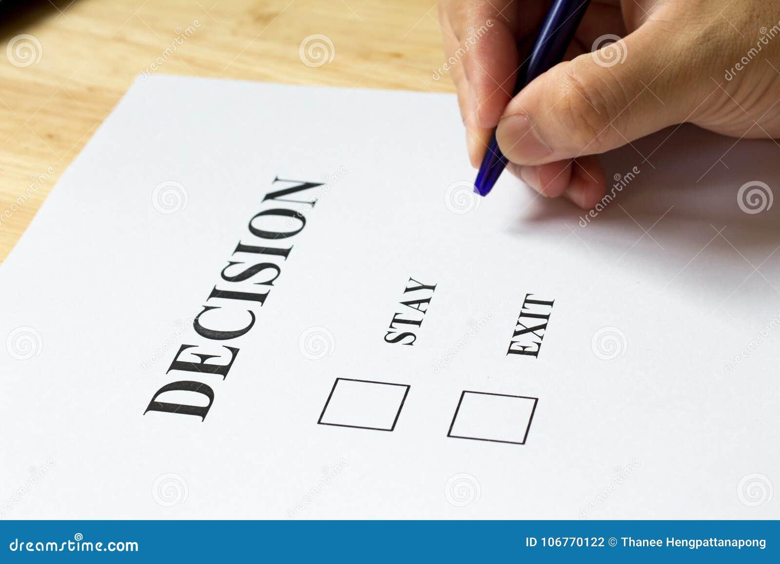 Carta Di Decisione Con La Scelta Dell\'uscita E Di Soggiorno ...